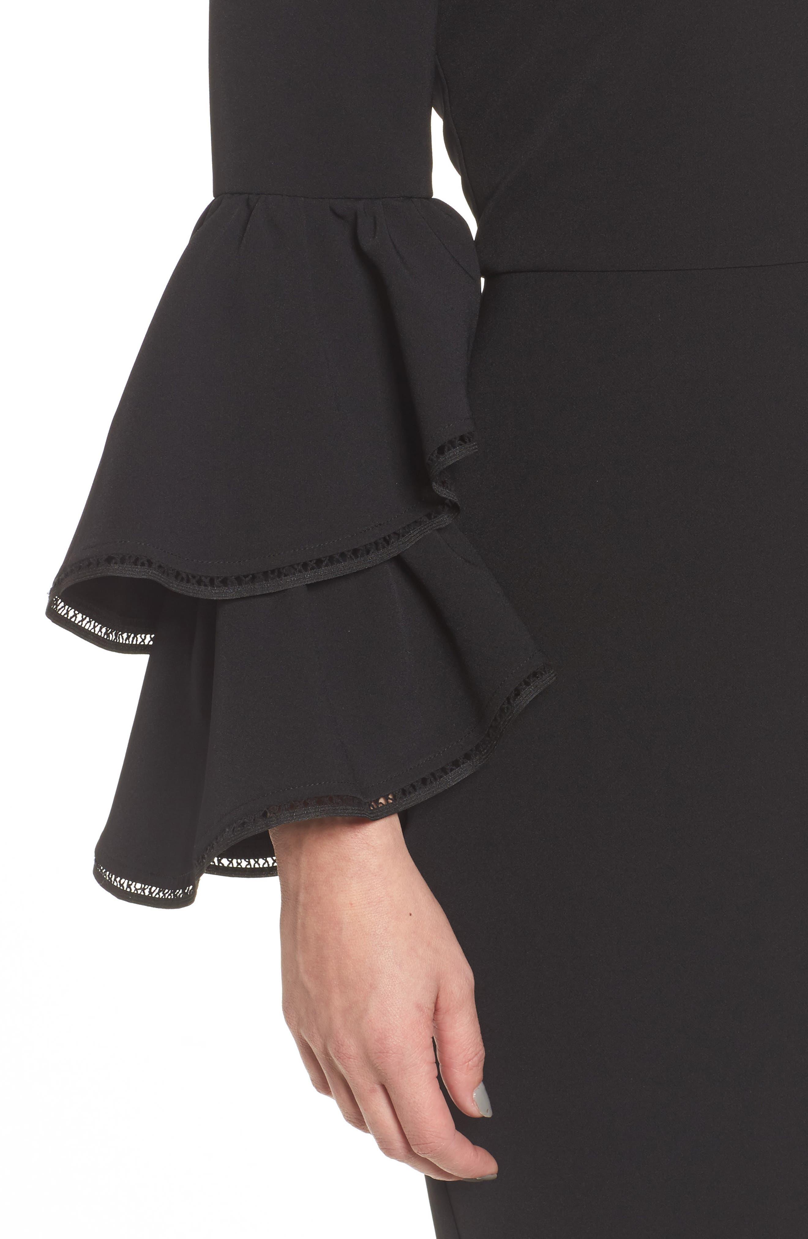 Emmie Ruffle Sleeve Sheath Dress,                             Alternate thumbnail 4, color,                             001