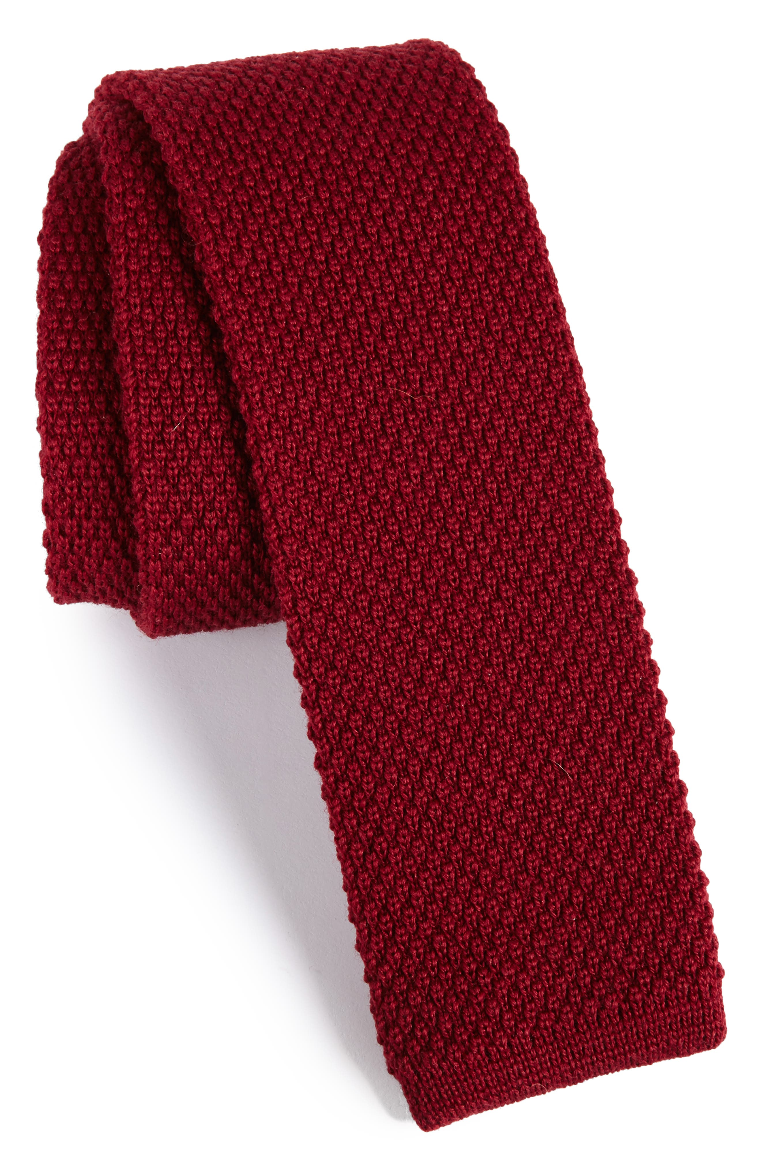 Solid Knit Wool Skinny Tie,                             Main thumbnail 5, color,