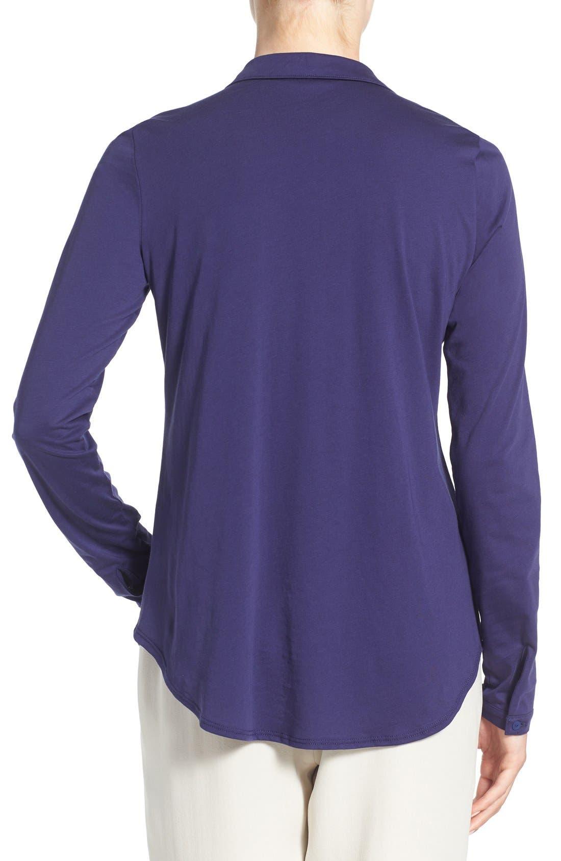Organic Cotton Jersey Classic Collar Shirt,                             Alternate thumbnail 9, color,