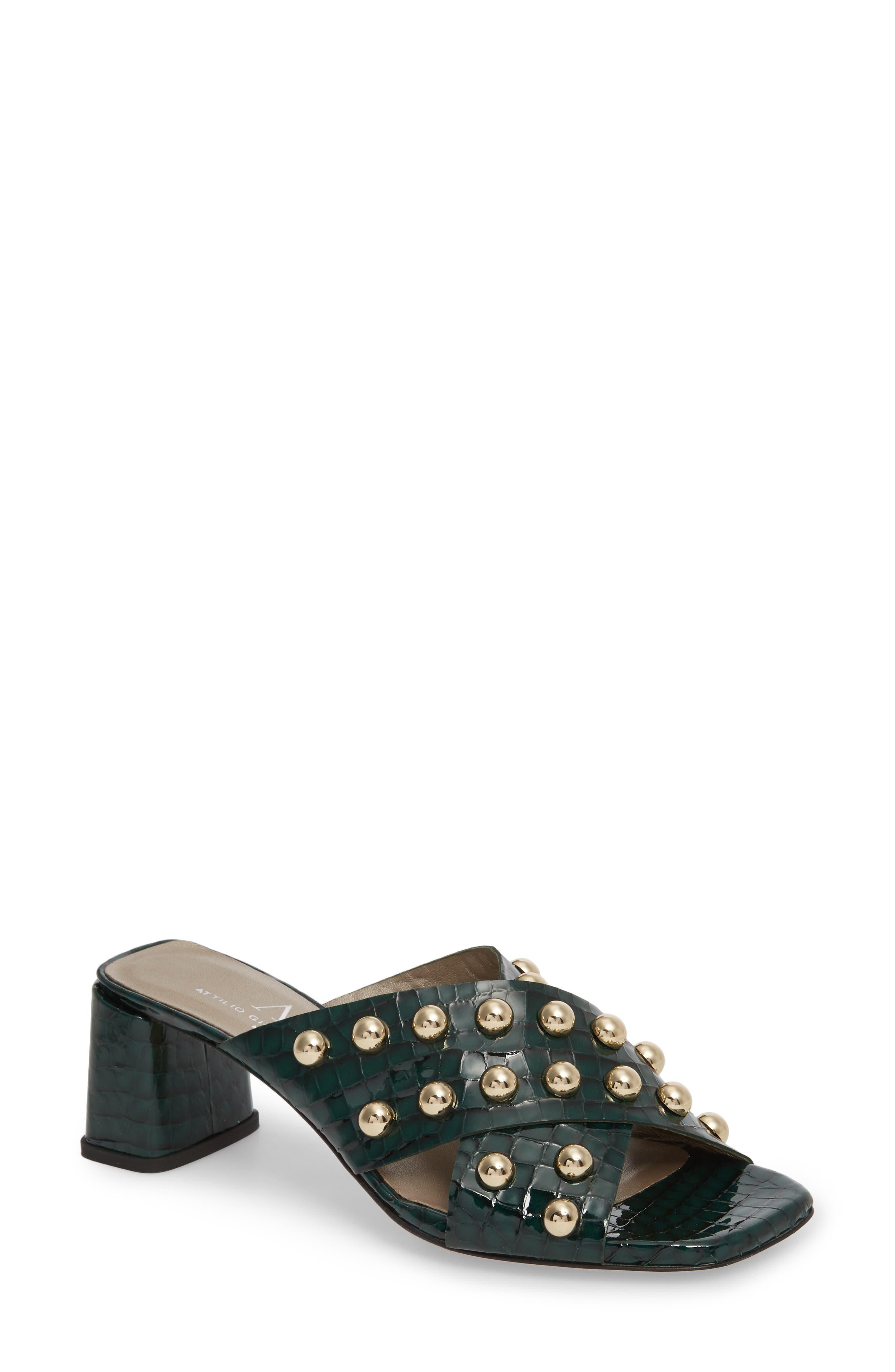 Studded Block Heel Slide Sandal,                             Main thumbnail 1, color,                             301