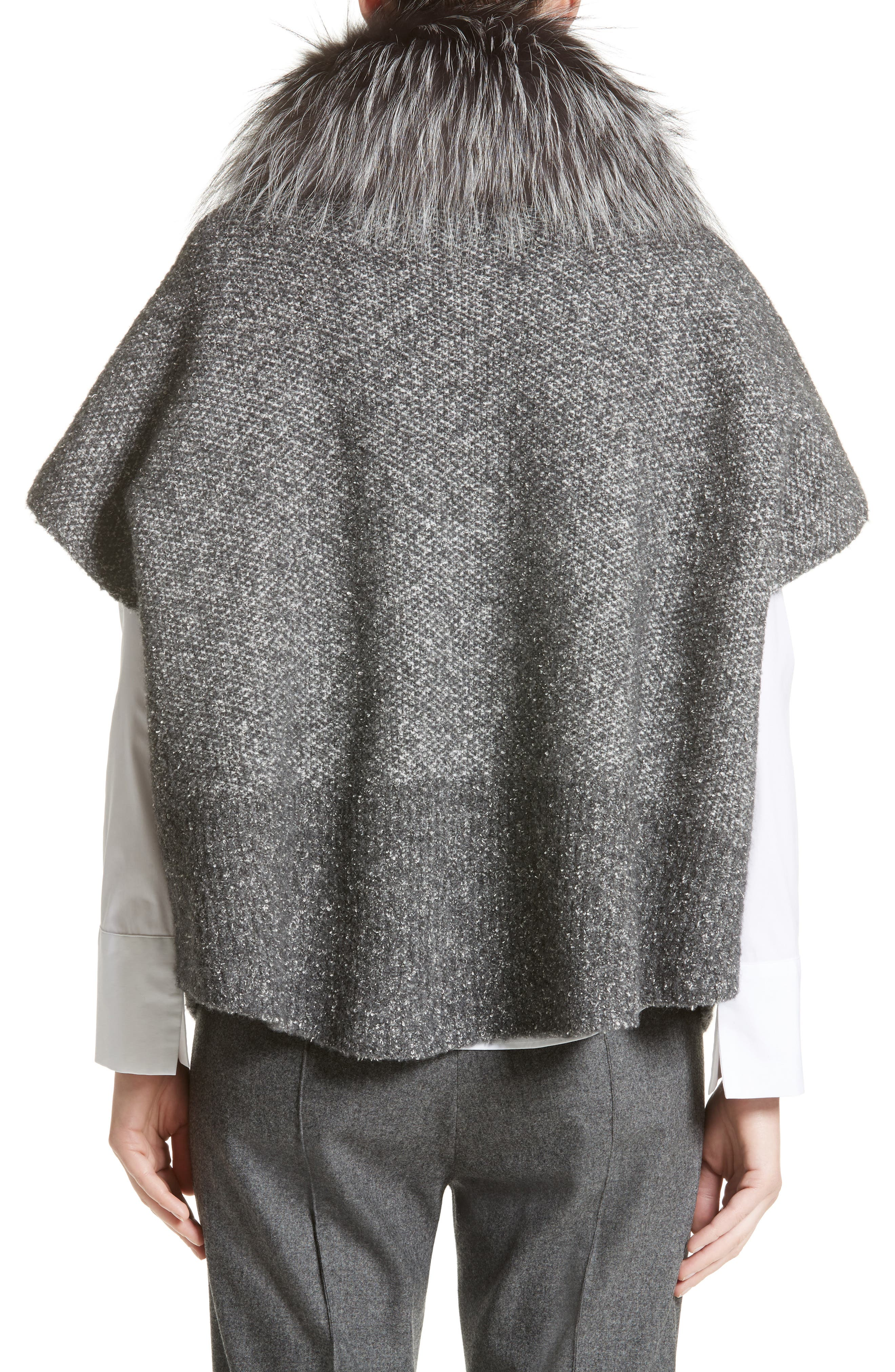 Pebble Tweed Knit Poncho with Genuine Fox Fur Collar,                             Alternate thumbnail 3, color,
