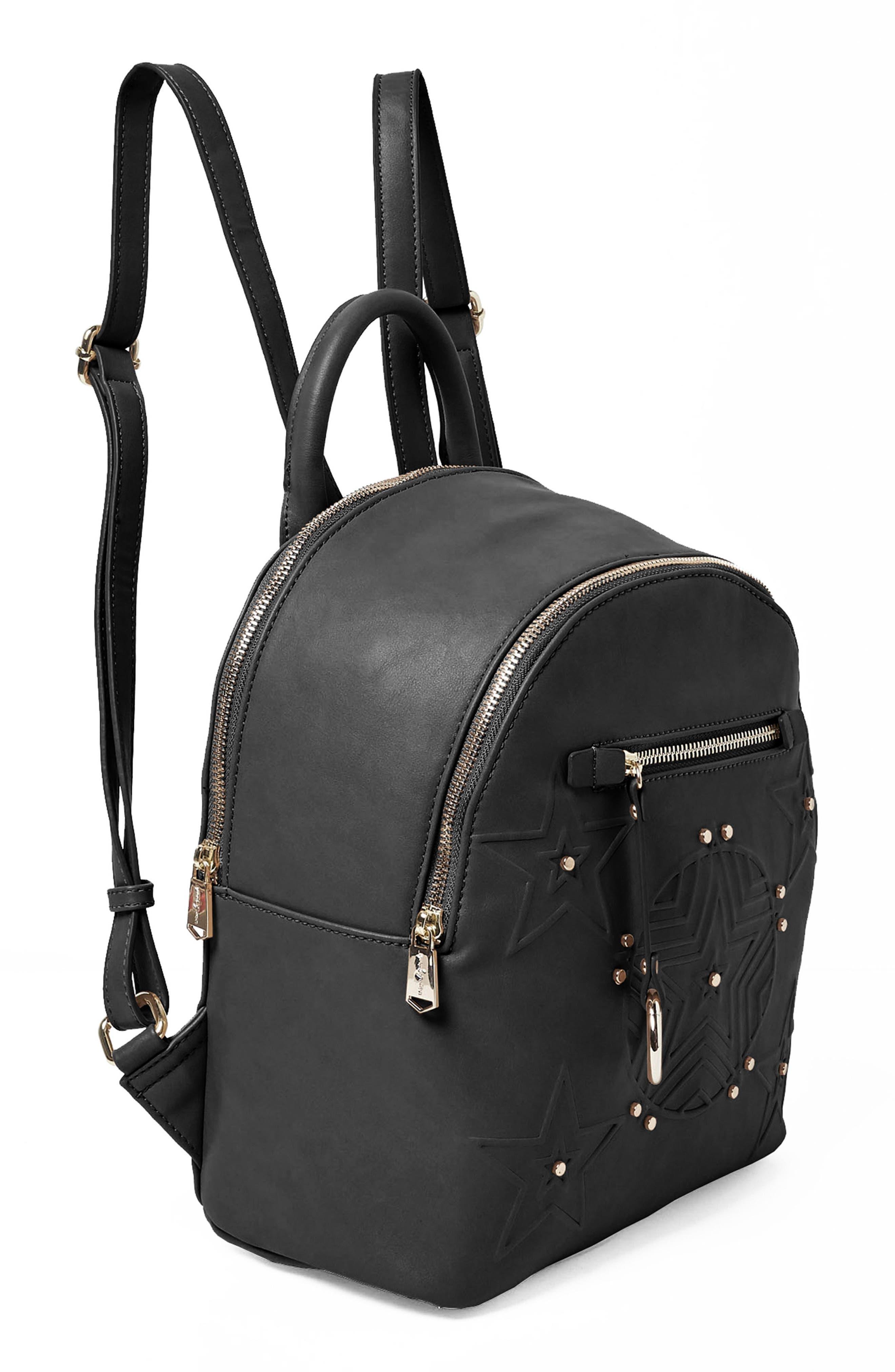Celestial Vegan Leather Backpack,                             Alternate thumbnail 4, color,                             001