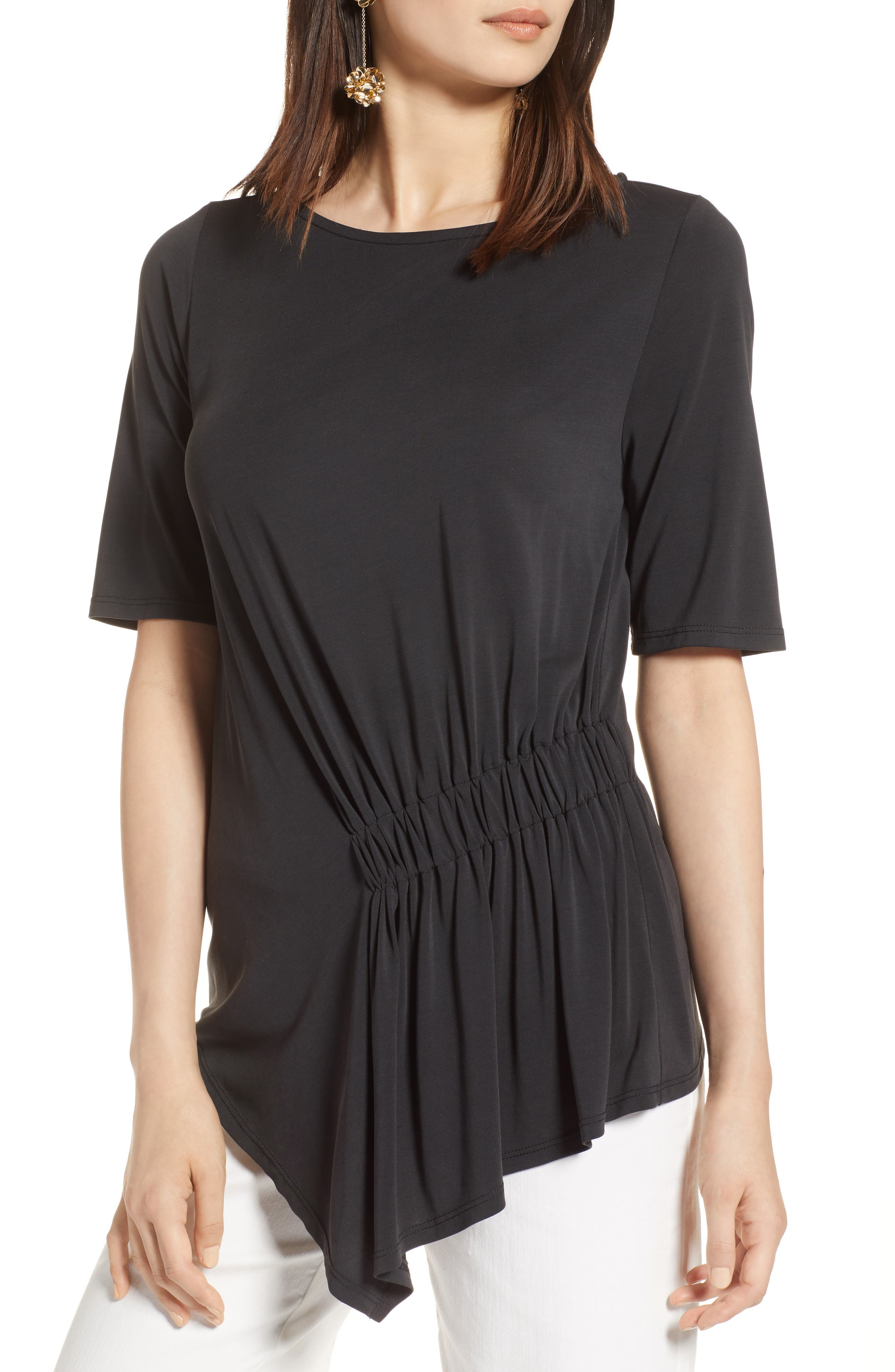 Ruched Waist Tee,                         Main,                         color, 001