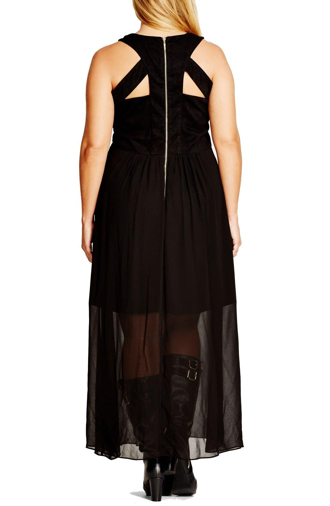 'Rhianna' Lace-Up Trim Faux Suede & Chiffon Maxi Dress,                             Alternate thumbnail 2, color,                             001