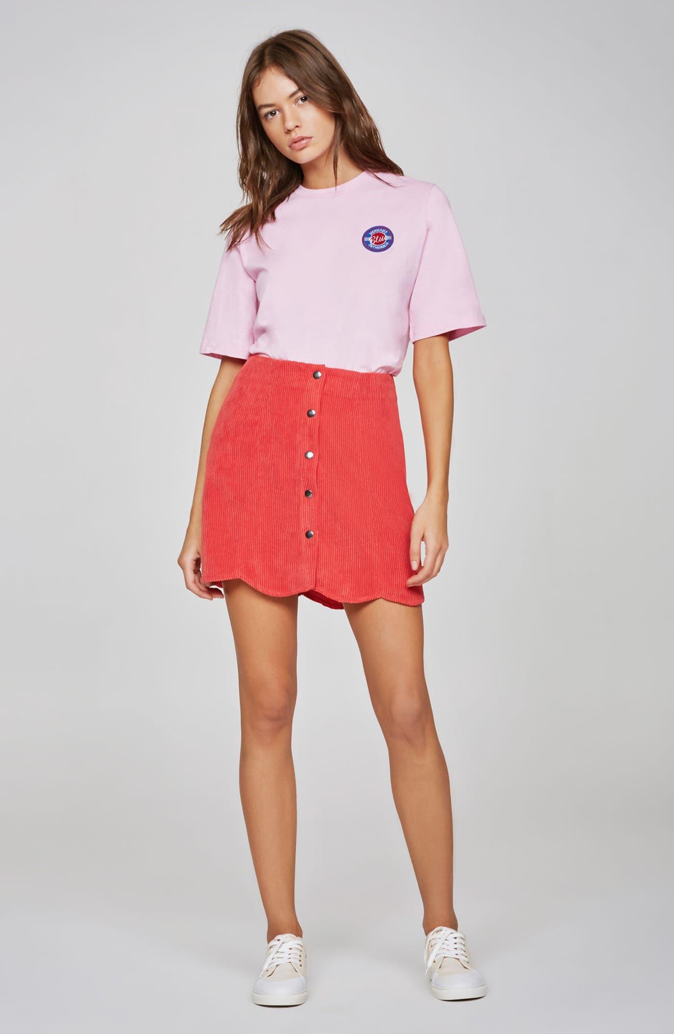 Central Corduroy Scallop Hem Skirt,                             Alternate thumbnail 7, color,                             621