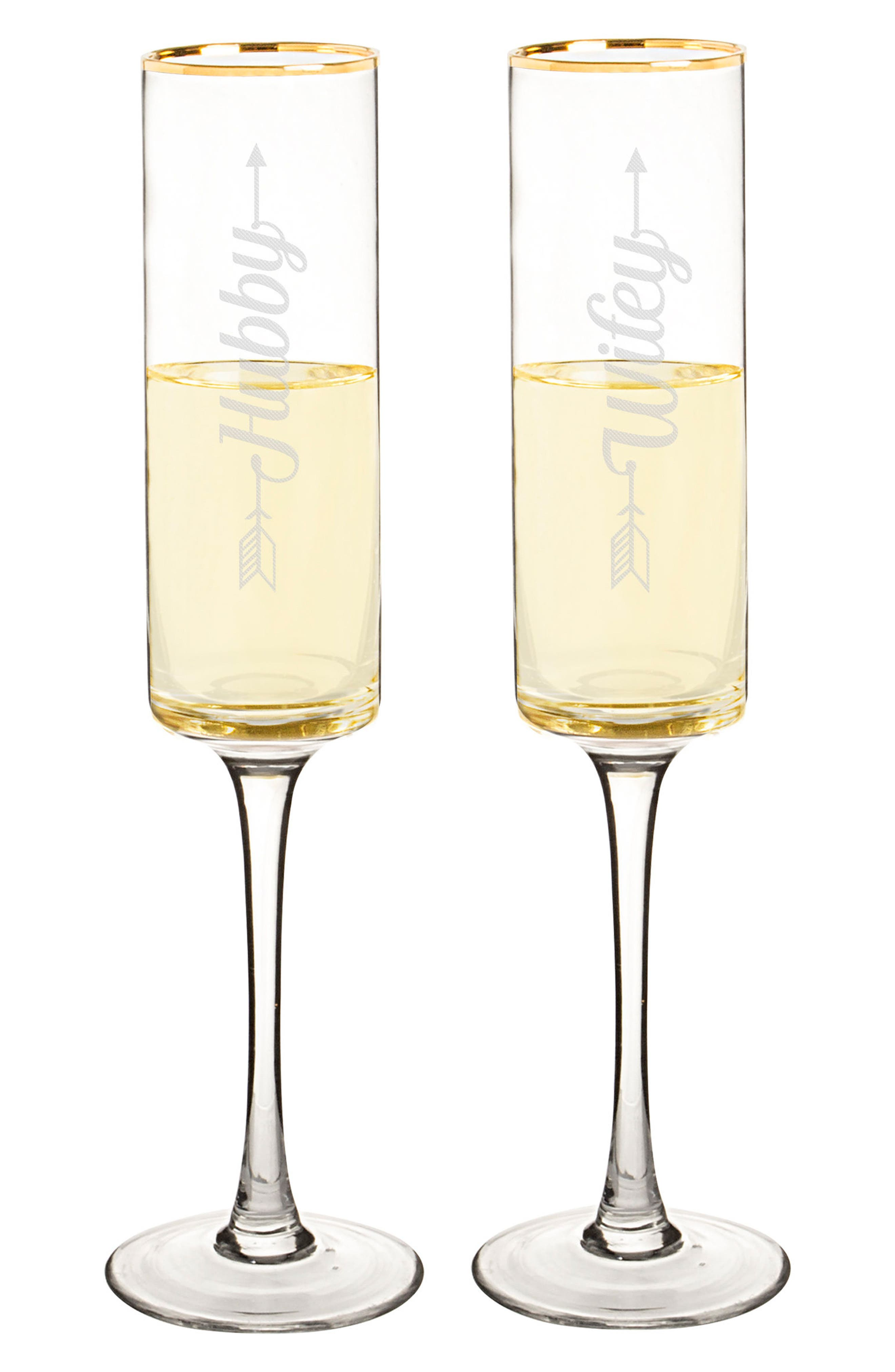 Hubby/Wifey Set of 2 Champagne Flutes,                             Alternate thumbnail 5, color,                             710