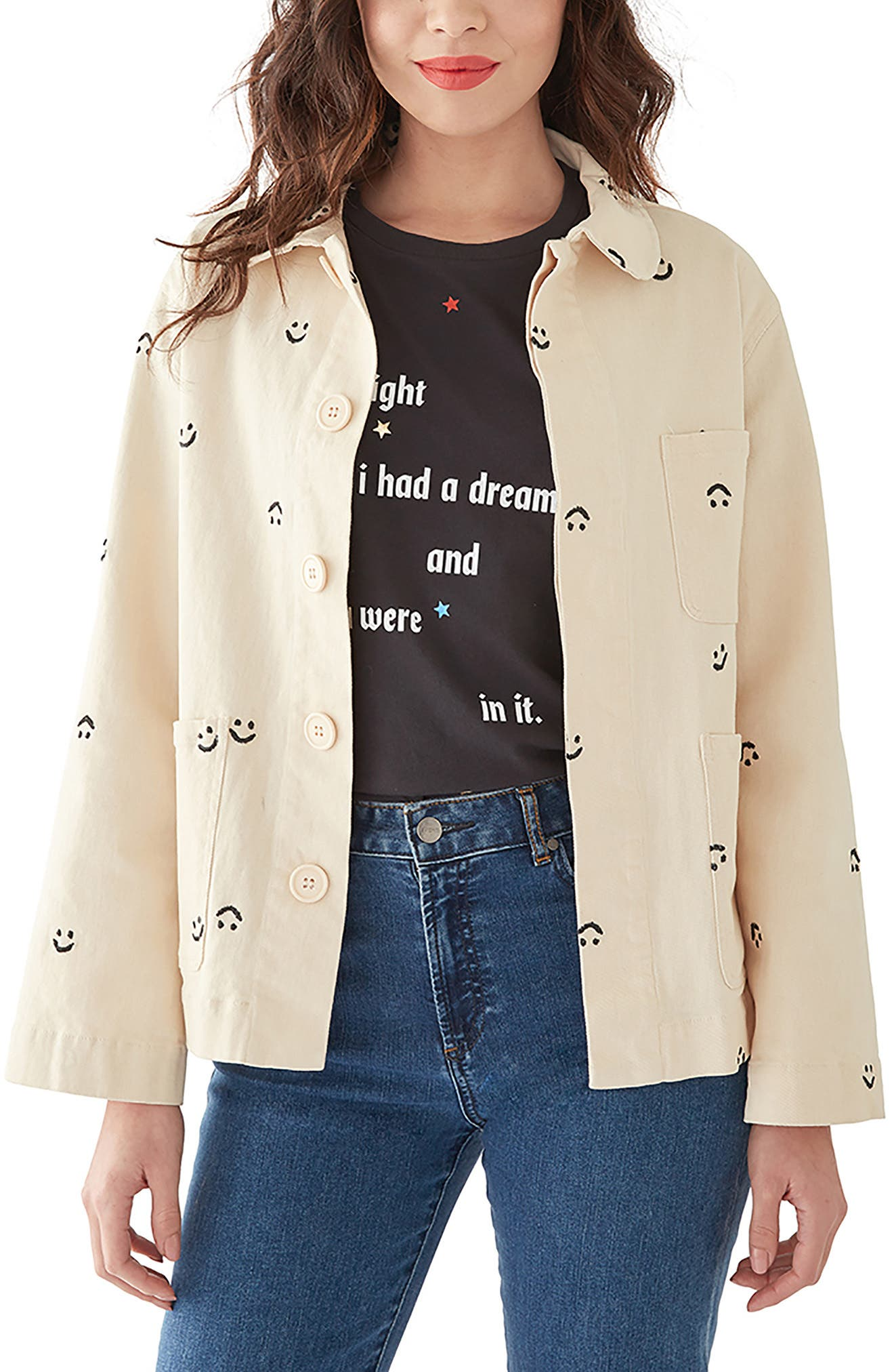 BAN.DO Ban. Do Smiley Work Jacket in Ivory