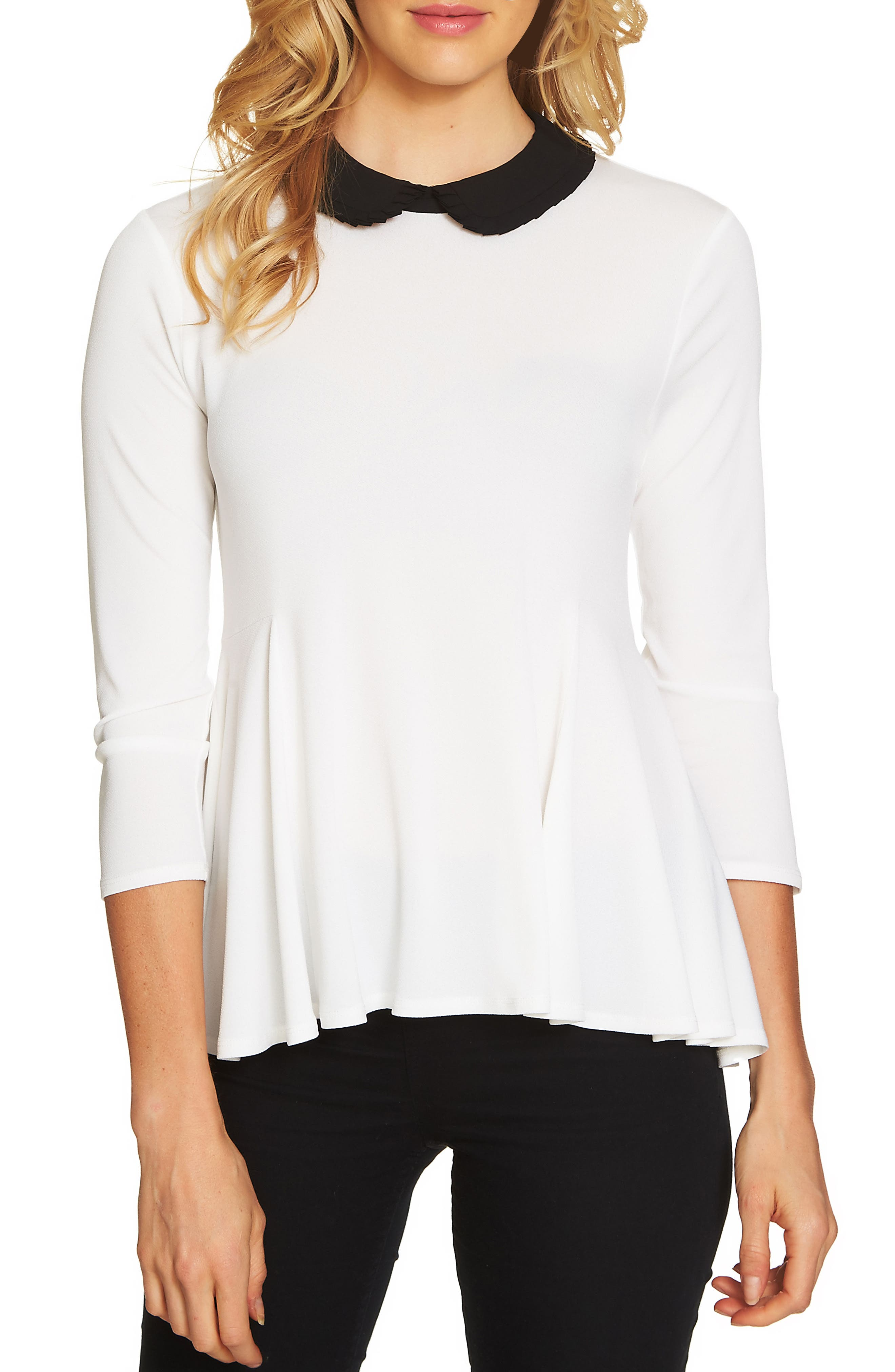 Pleat Collar Swing Knit Top,                             Main thumbnail 3, color,