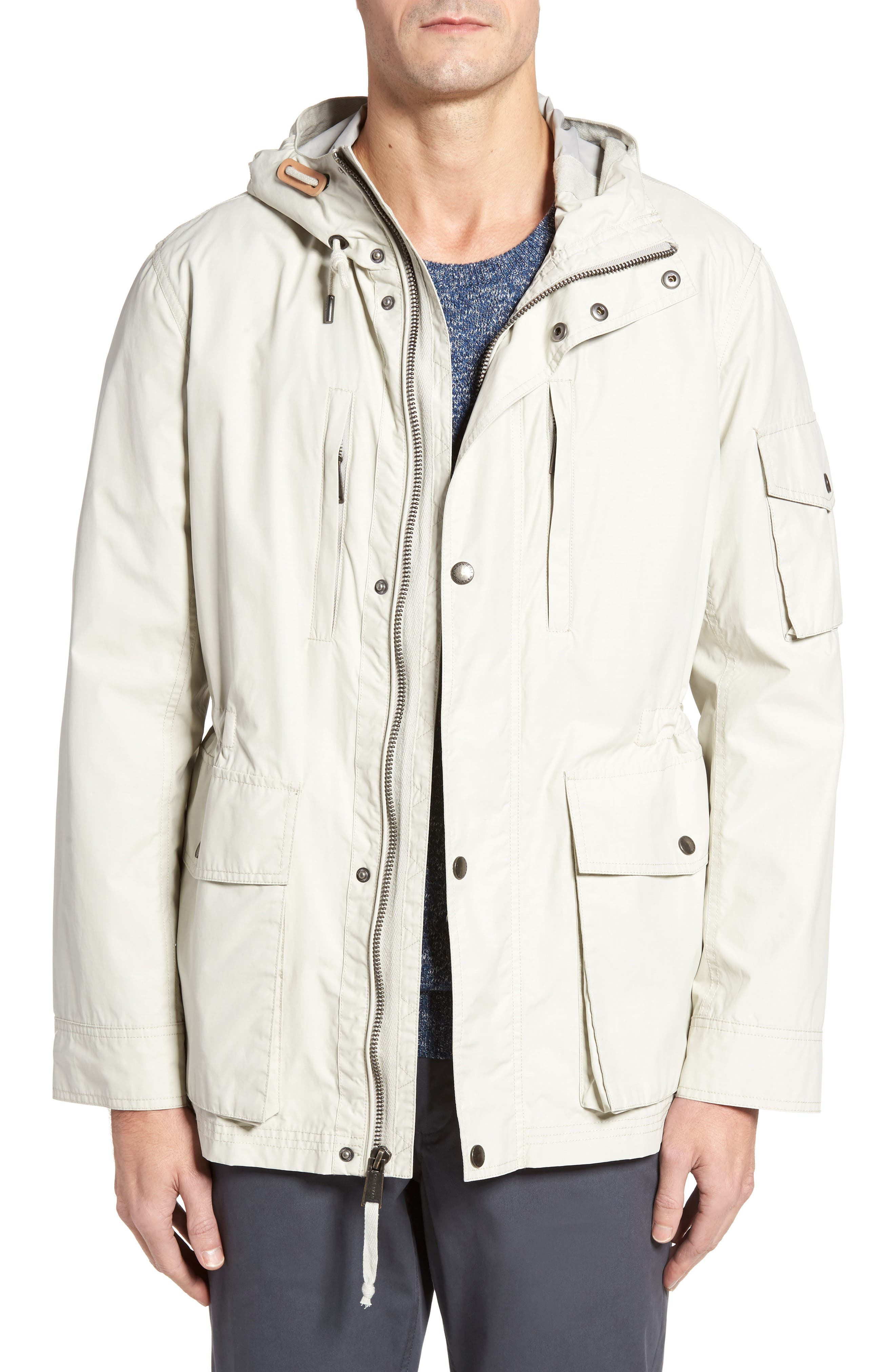 COLE HAAN Water Repellent Hooded Jacket, Main, color, STONE