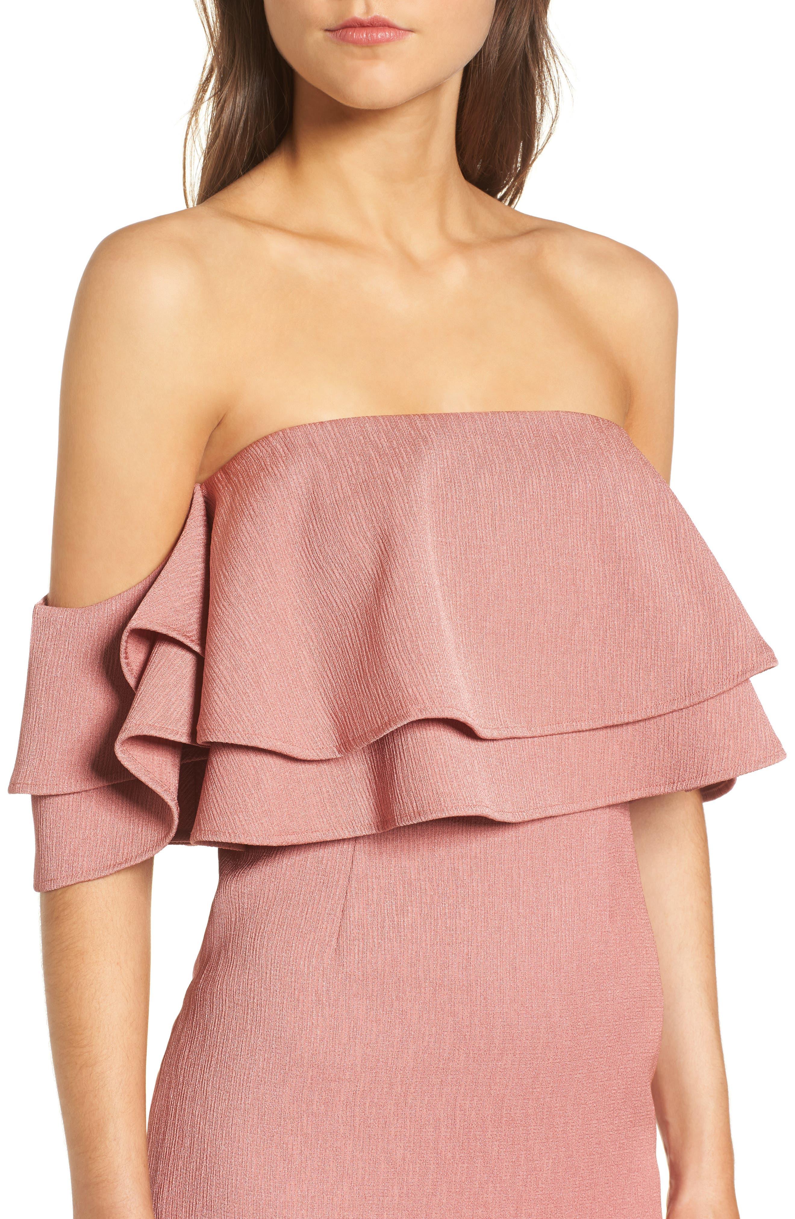 No Reason Off the Shoulder Sheath Dress,                             Alternate thumbnail 4, color,                             650