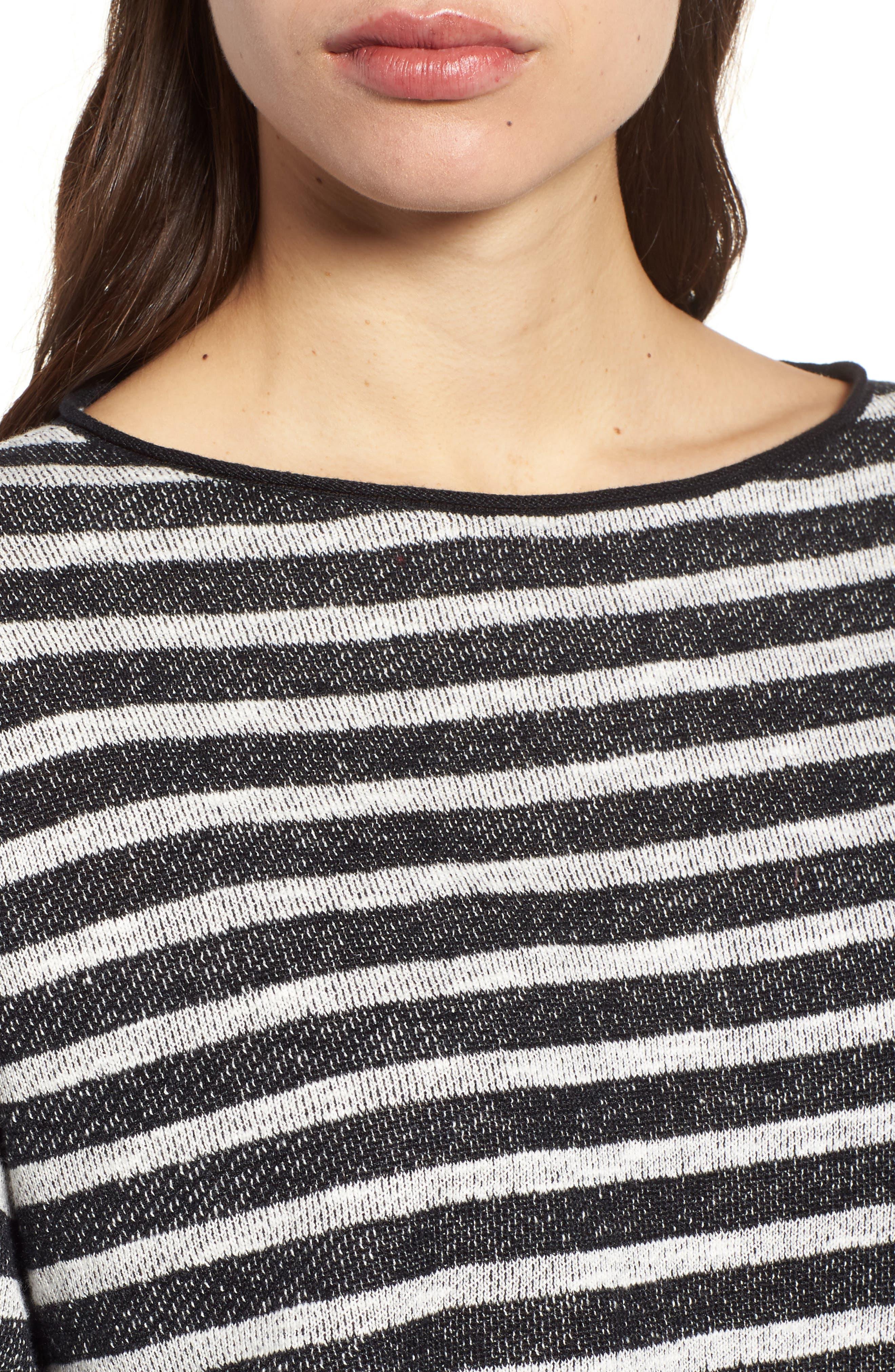 Stripe Organic Linen & Cotton Sweater,                             Alternate thumbnail 4, color,                             112