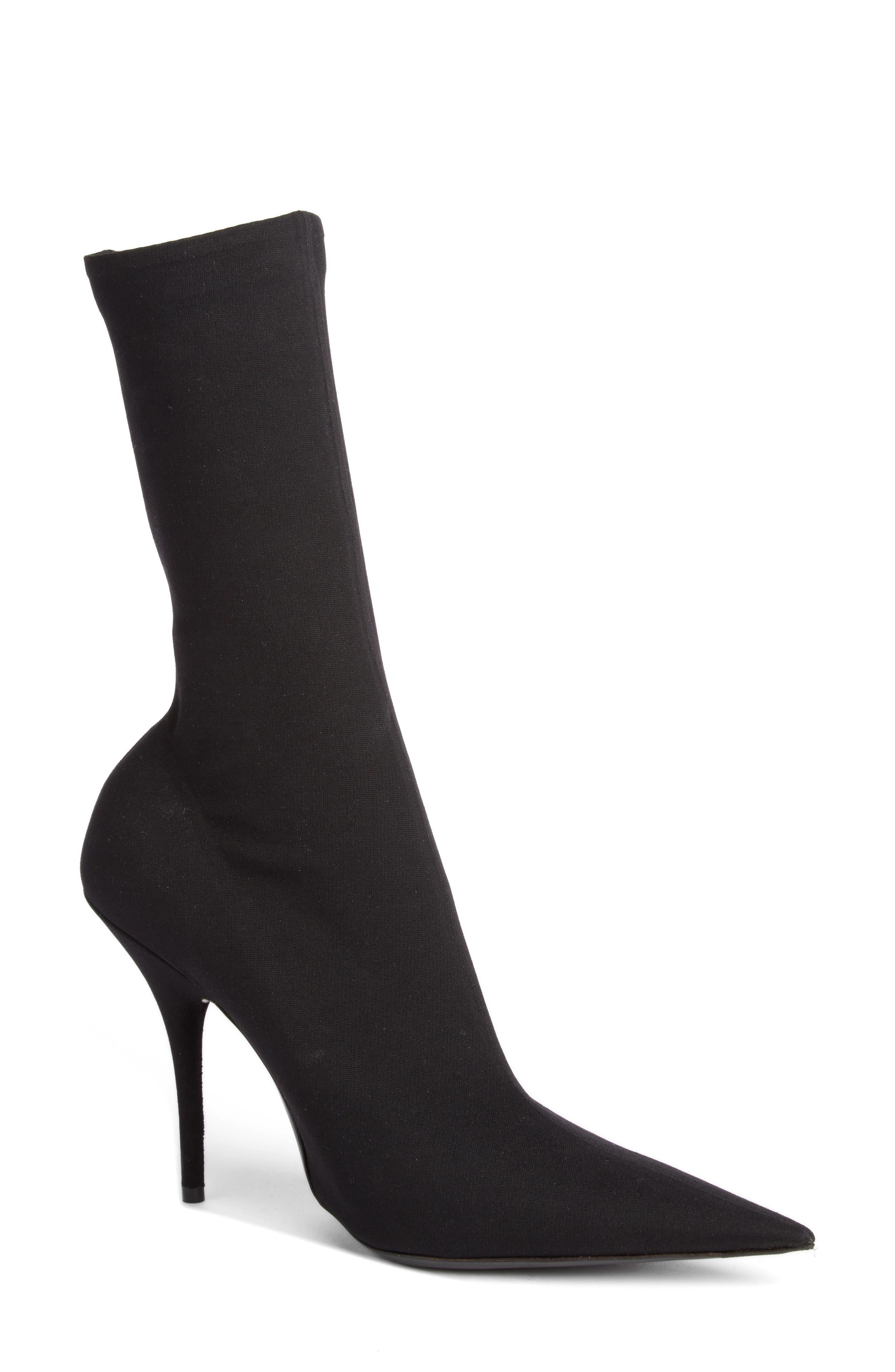 Balenciaga Pointy Toe Sock Bootie - Black