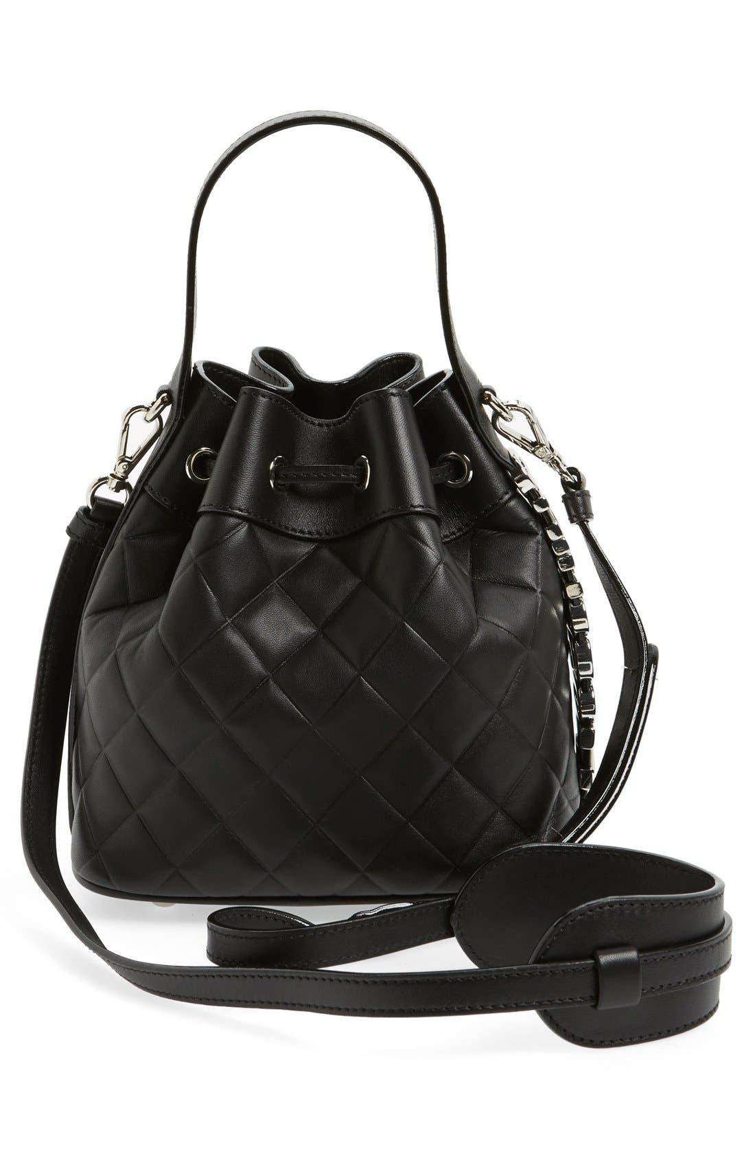 Mocscino Mini Letters Quilted Bucket Bag,                             Alternate thumbnail 3, color,                             001