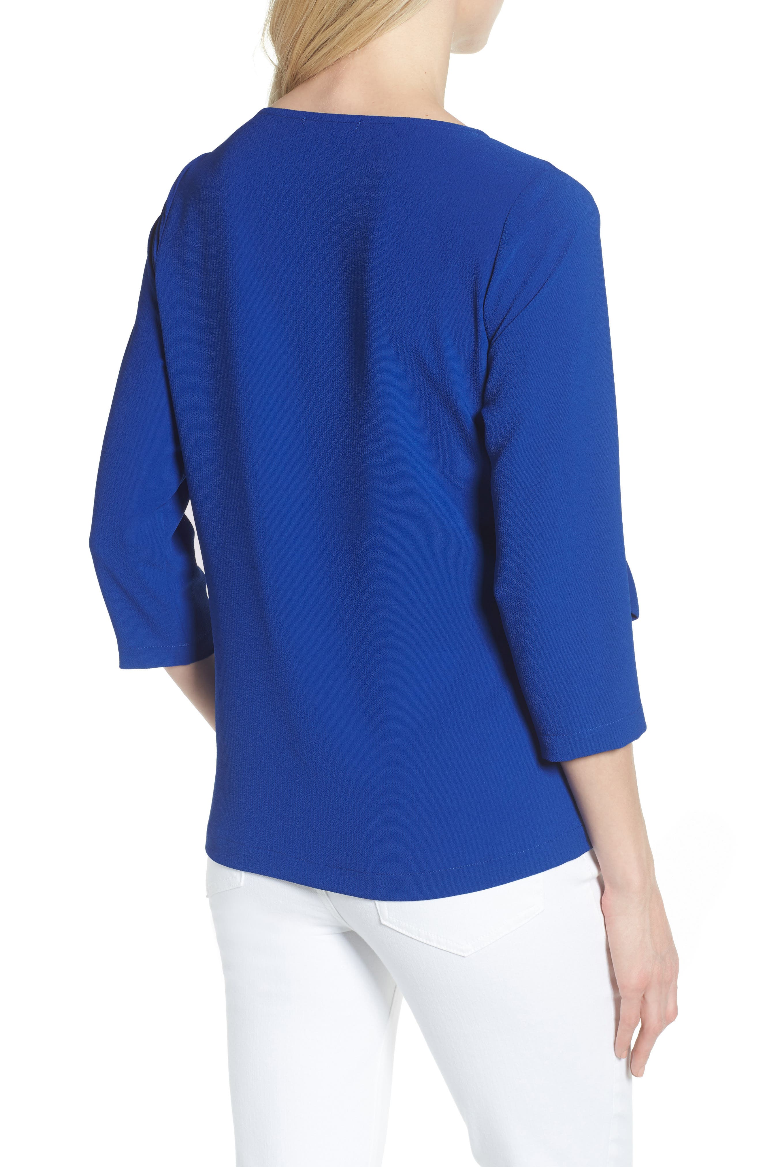 Tie Front Crepe Top,                             Alternate thumbnail 2, color,                             NEON ROYAL