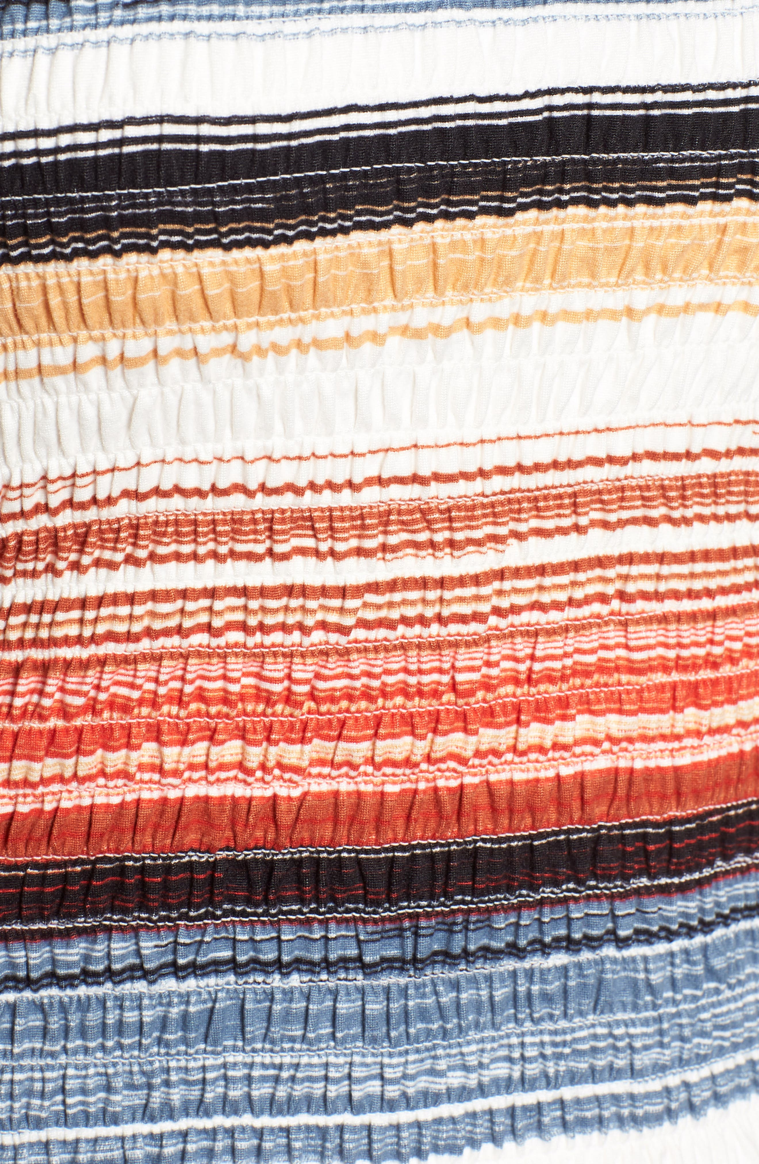 Stripe Smocked Off the Shoulder Top,                             Alternate thumbnail 5, color,                             BLUE RUST