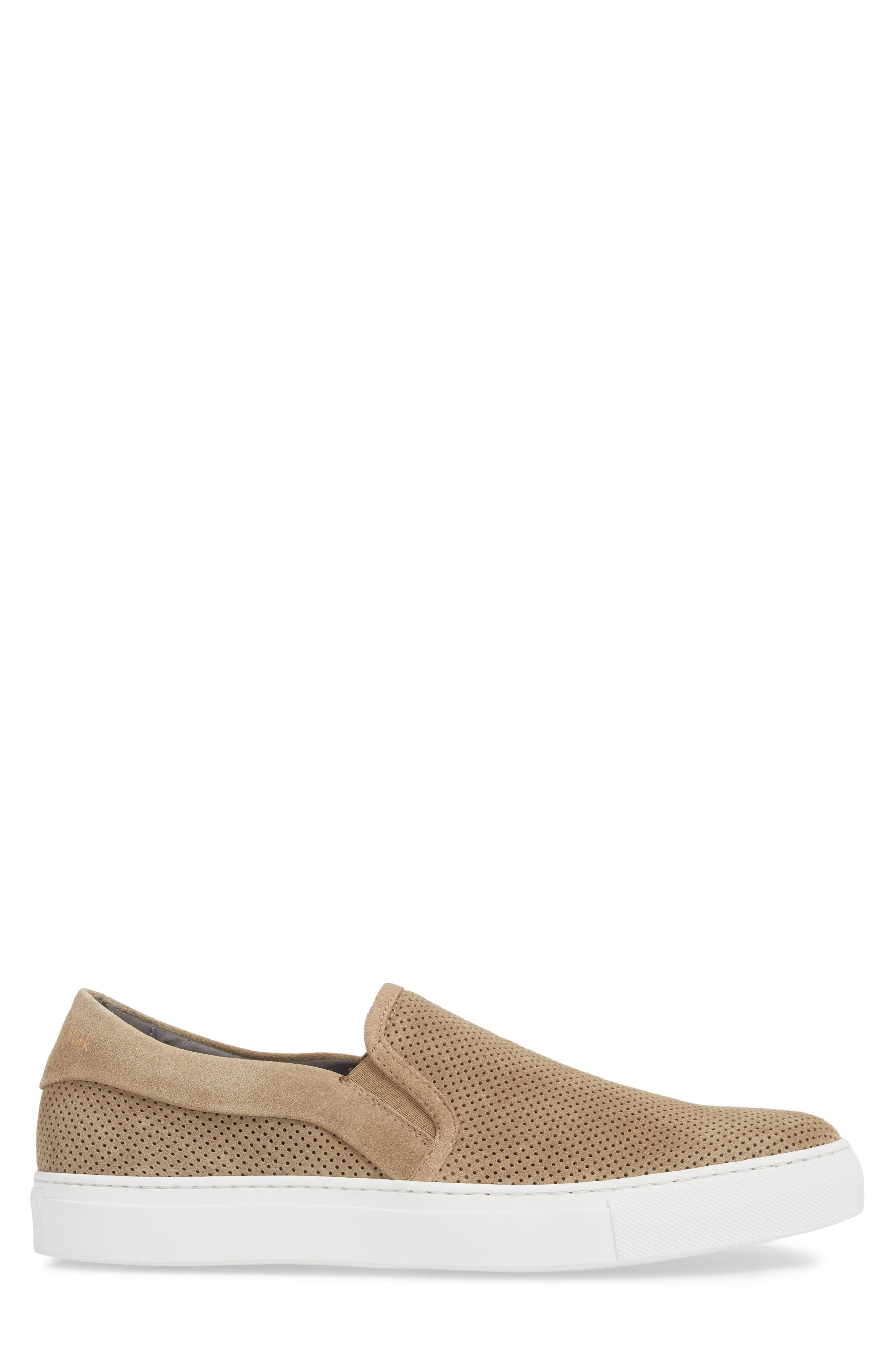 Buelton Perforated Slip-On Sneaker,                             Alternate thumbnail 3, color,                             BROWN SUEDE