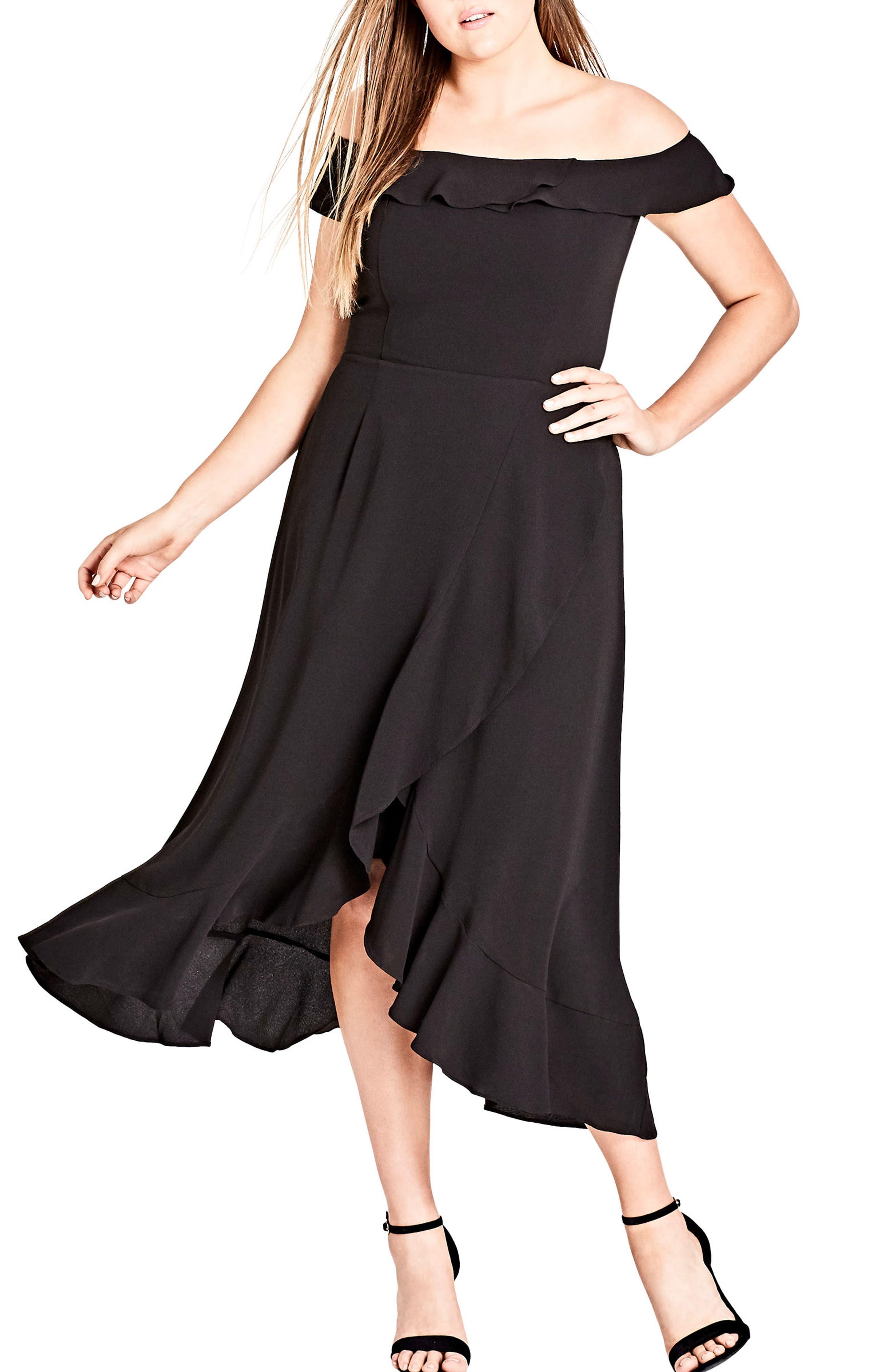 Off the Shoulder Ruffle High/Low Dress,                             Main thumbnail 1, color,                             BLACK