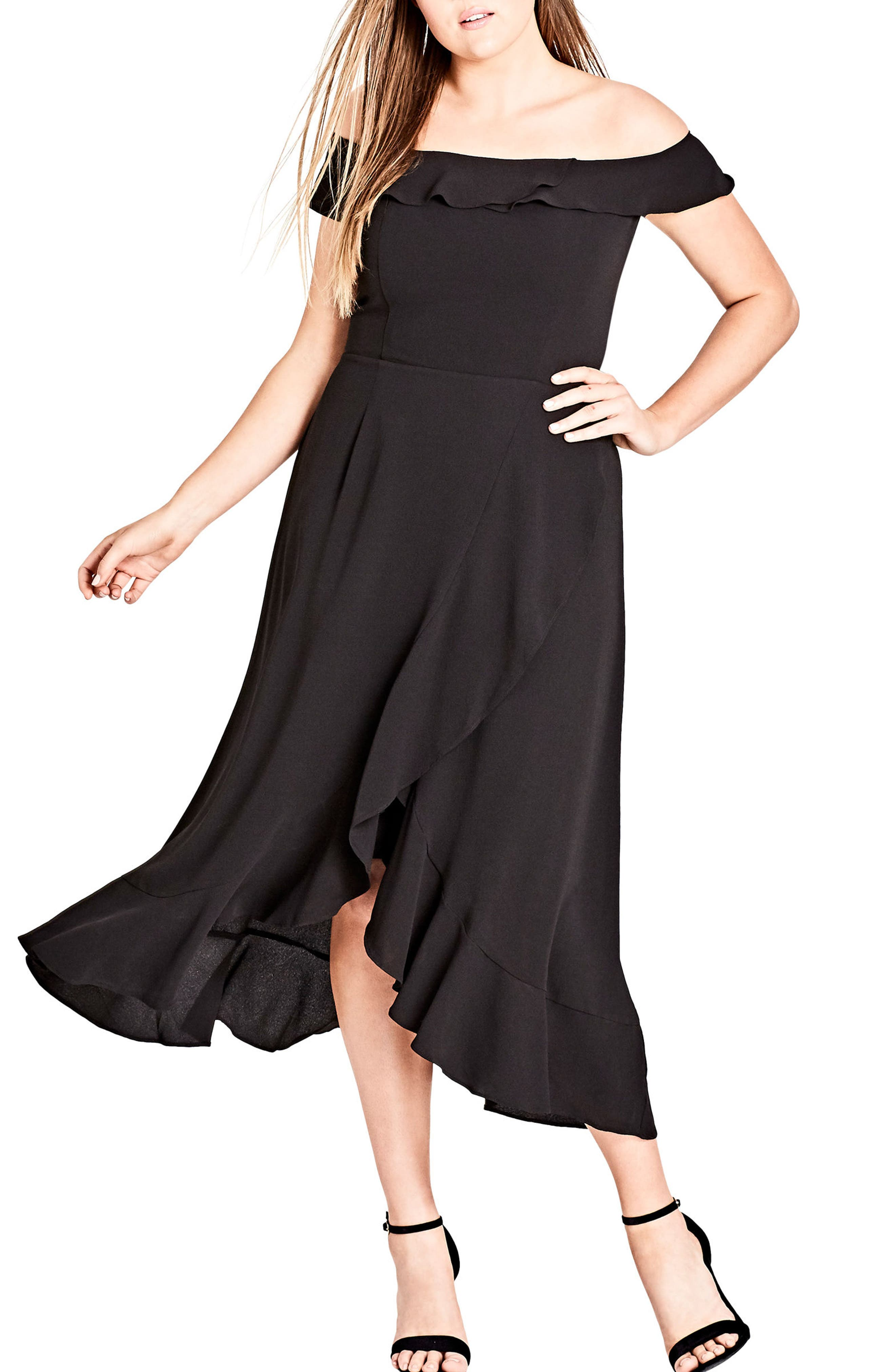 Off the Shoulder Ruffle High/Low Dress,                         Main,                         color, BLACK