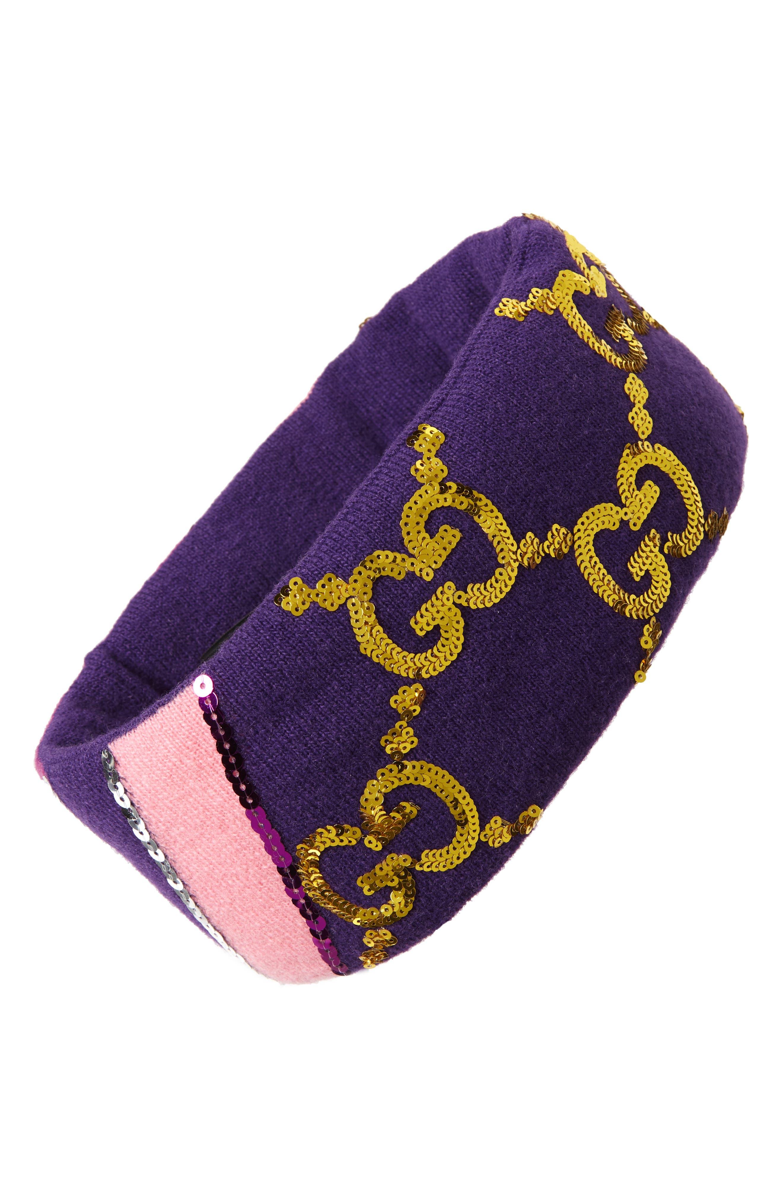 GG Sequin Headband,                         Main,                         color, PARMA VIOLET/ PINK