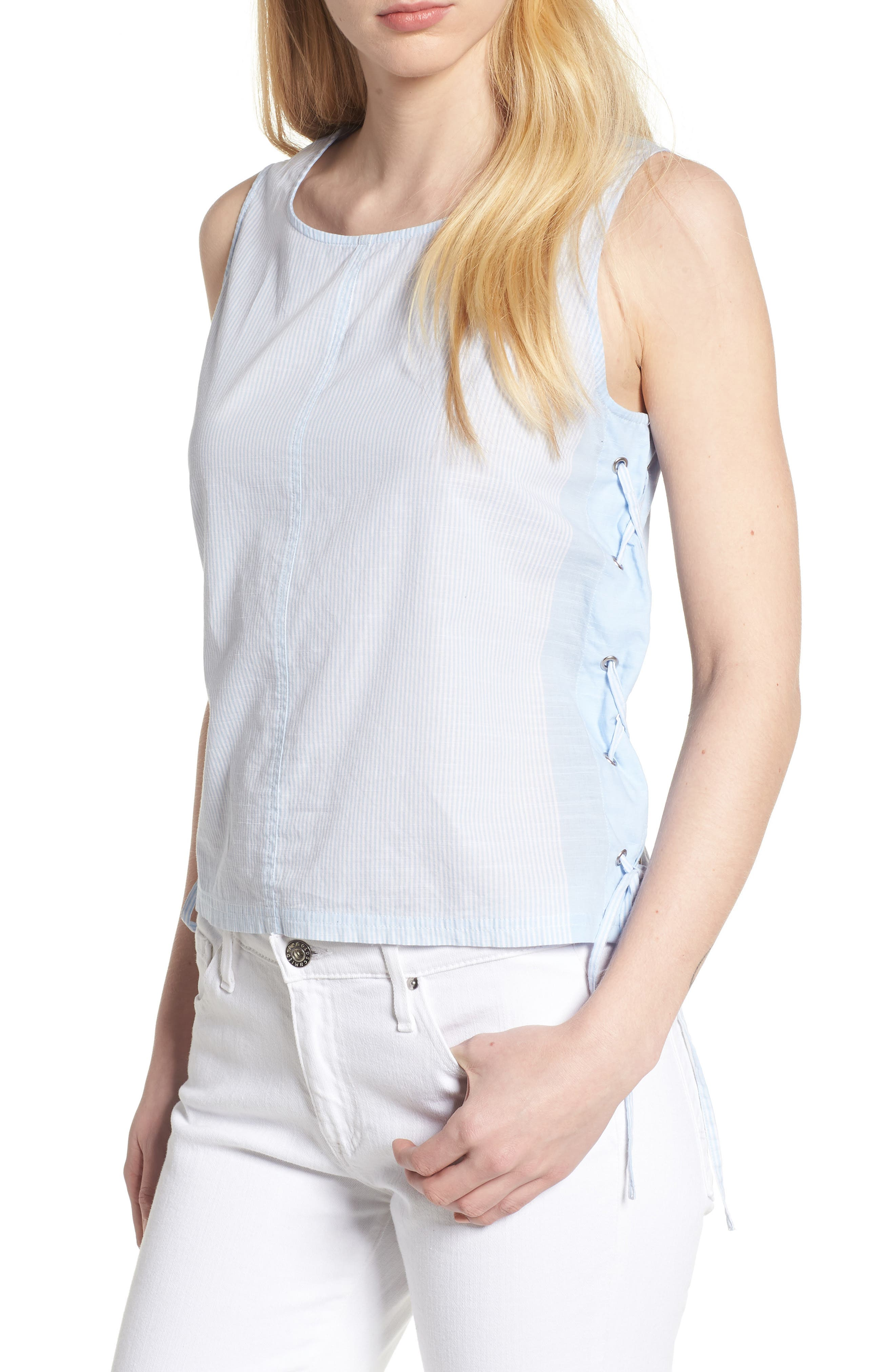 Side Laced Stripe Cotton Top,                         Main,                         color, 465
