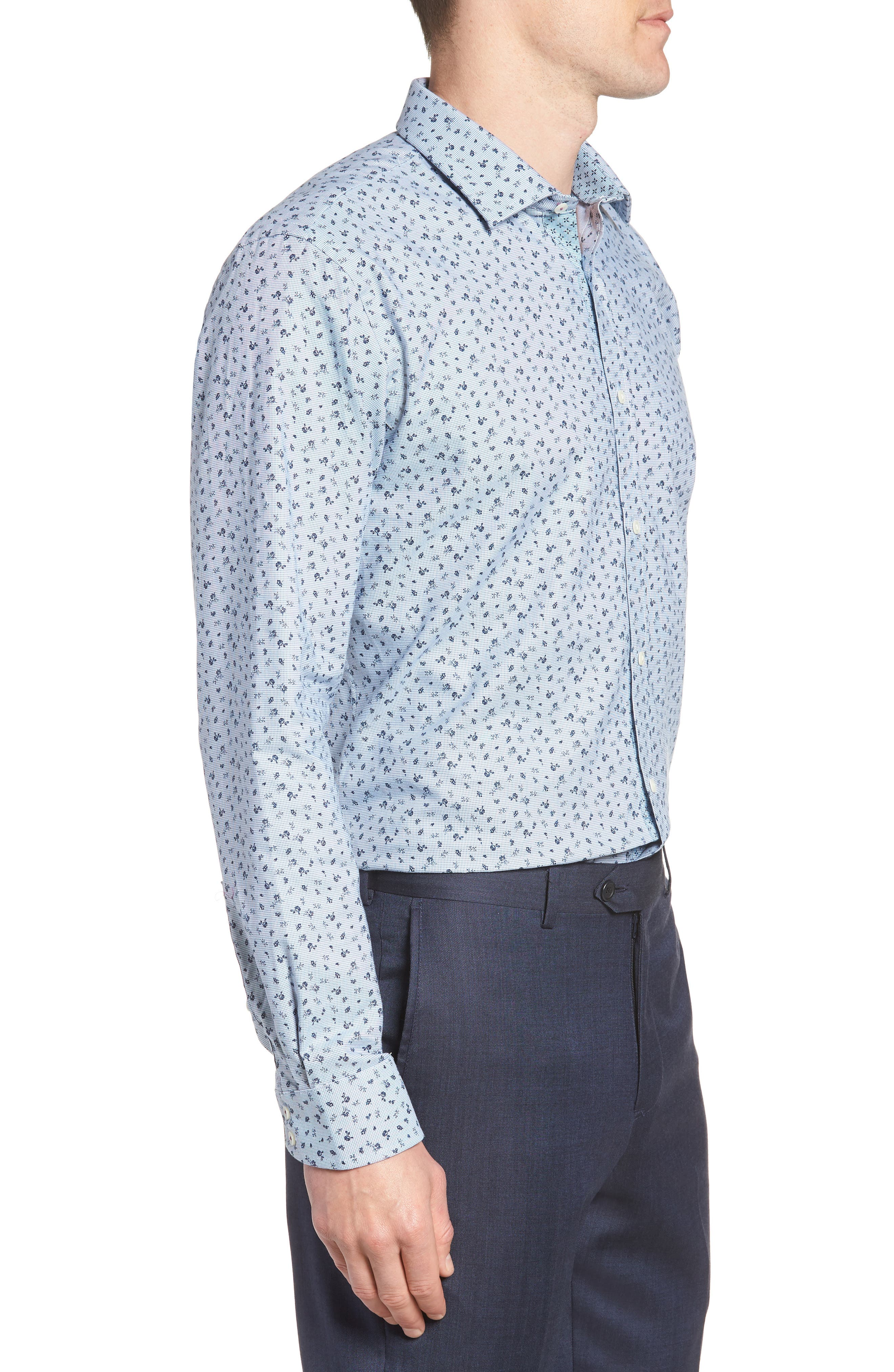 Chardo Trim Fit Floral Dress Shirt,                             Alternate thumbnail 4, color,                             030