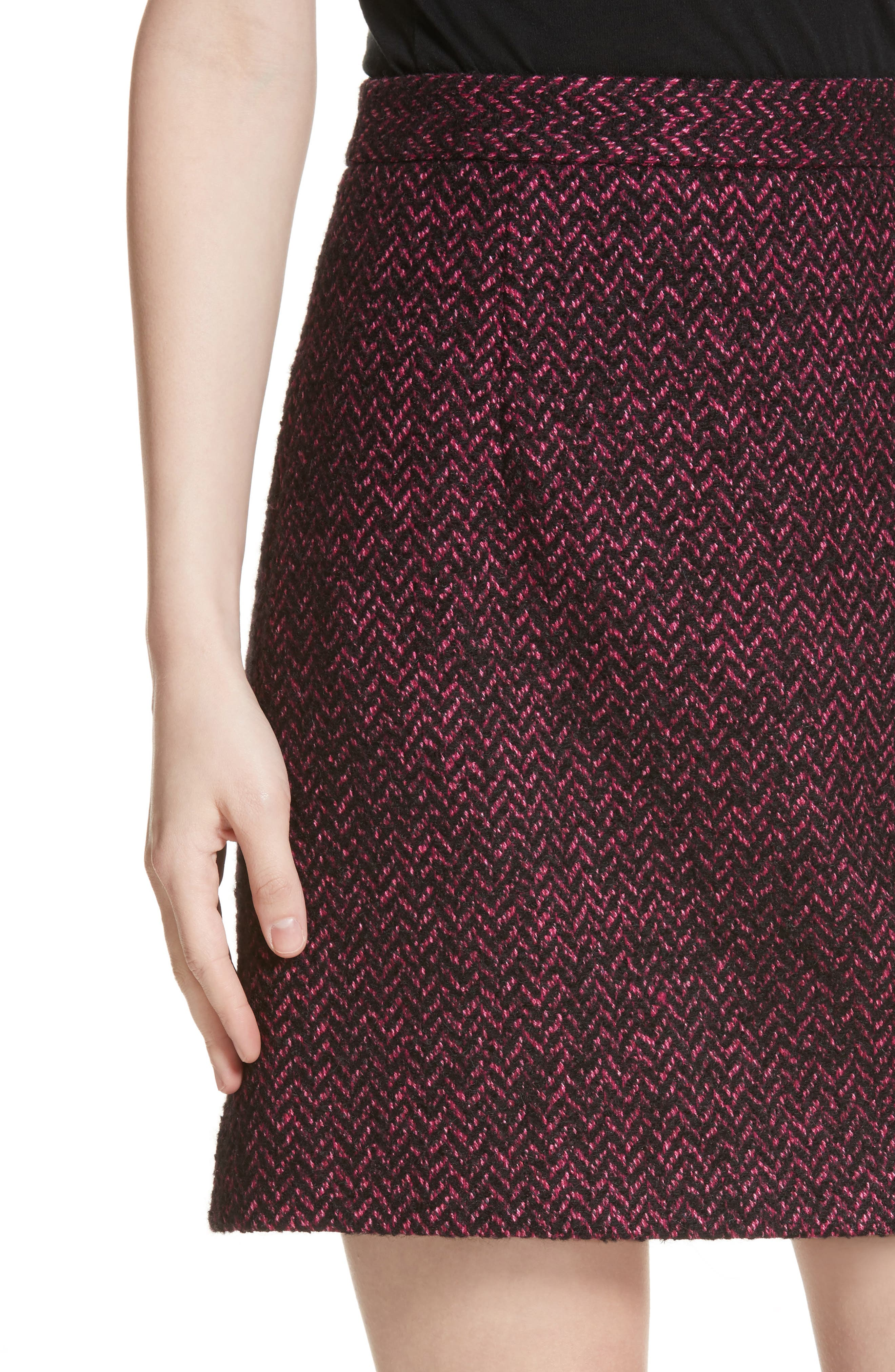 Herringbone Wool Blend A-Line Skirt,                             Alternate thumbnail 4, color,                             500