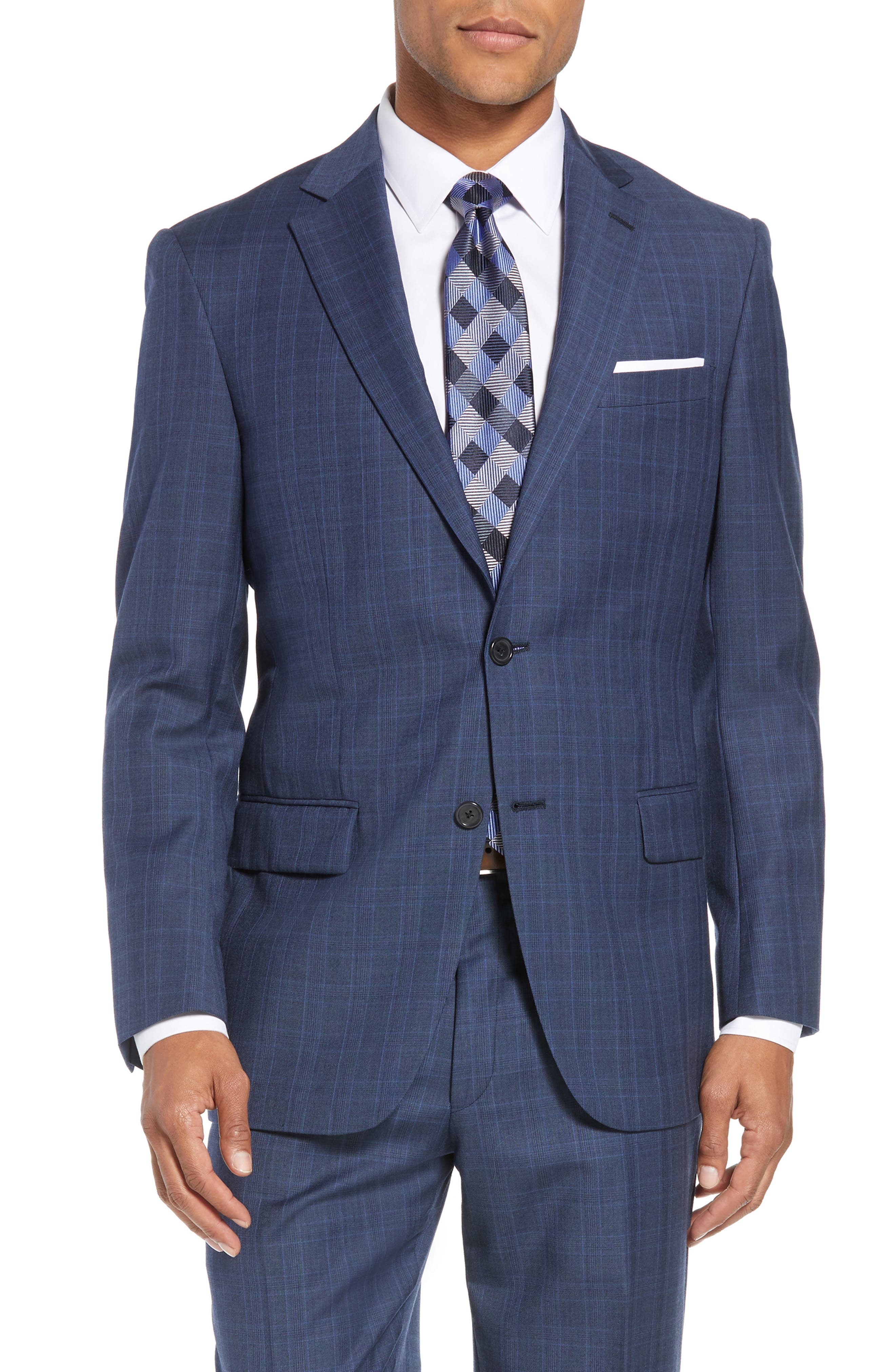 New York Classic Fit Plaid Wool Suit,                             Alternate thumbnail 5, color,                             MED BLUE
