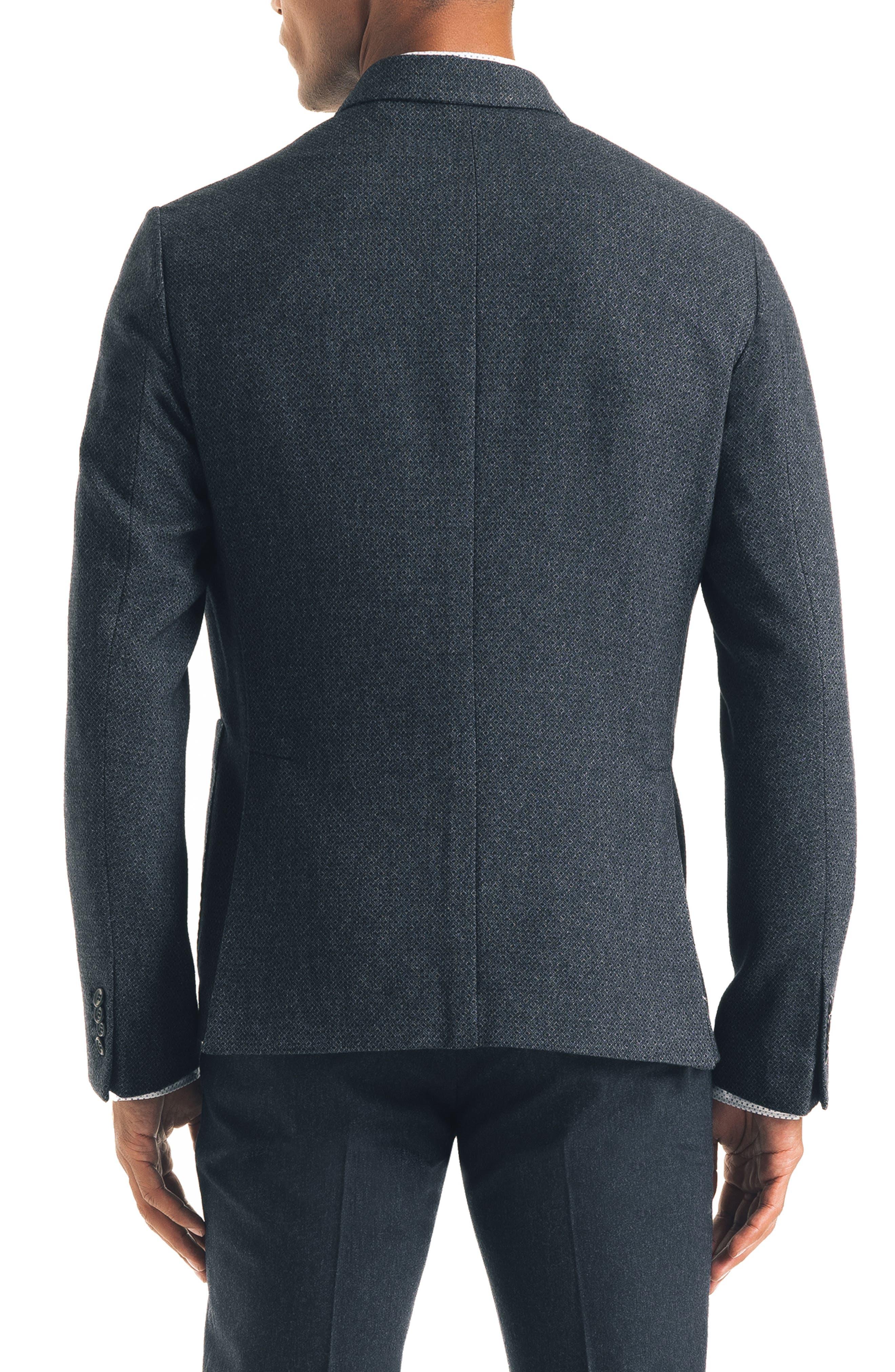 Downtown Trim Fit Print Wool Blend Sport Coat,                             Alternate thumbnail 2, color,                             NAVY