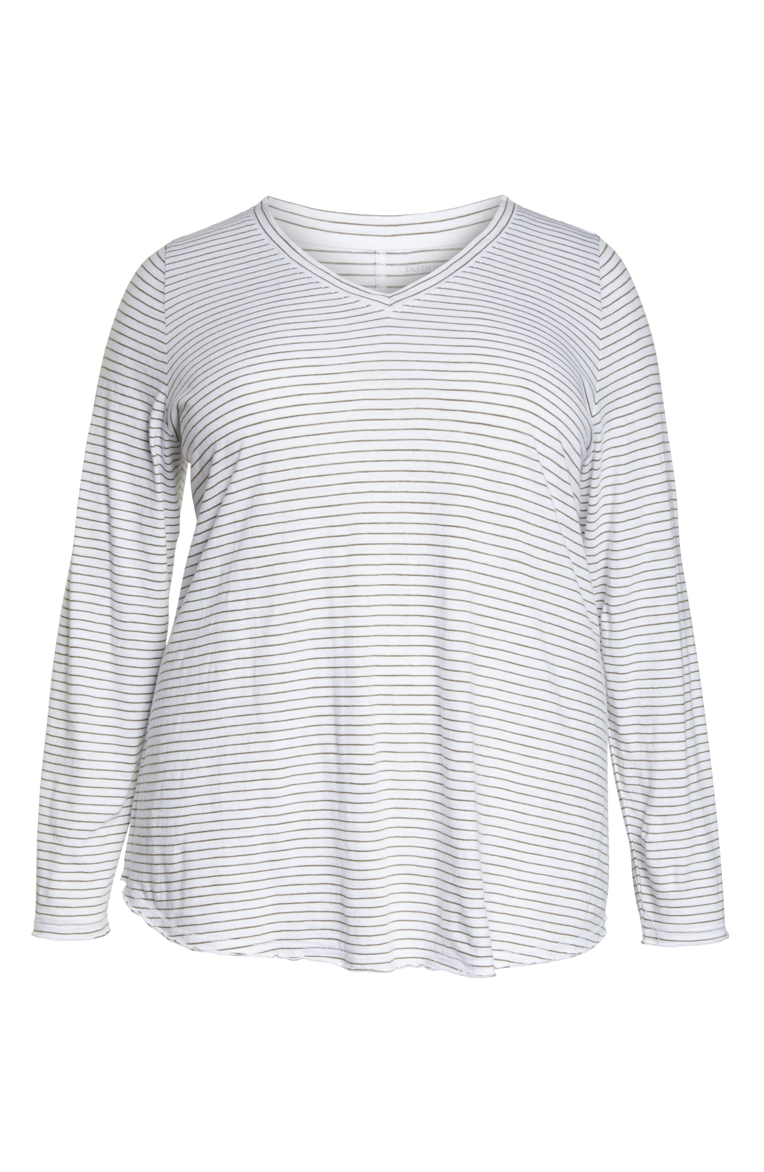 Stripe Organic Cotton V-Neck Tee,                             Alternate thumbnail 6, color,                             WHITE