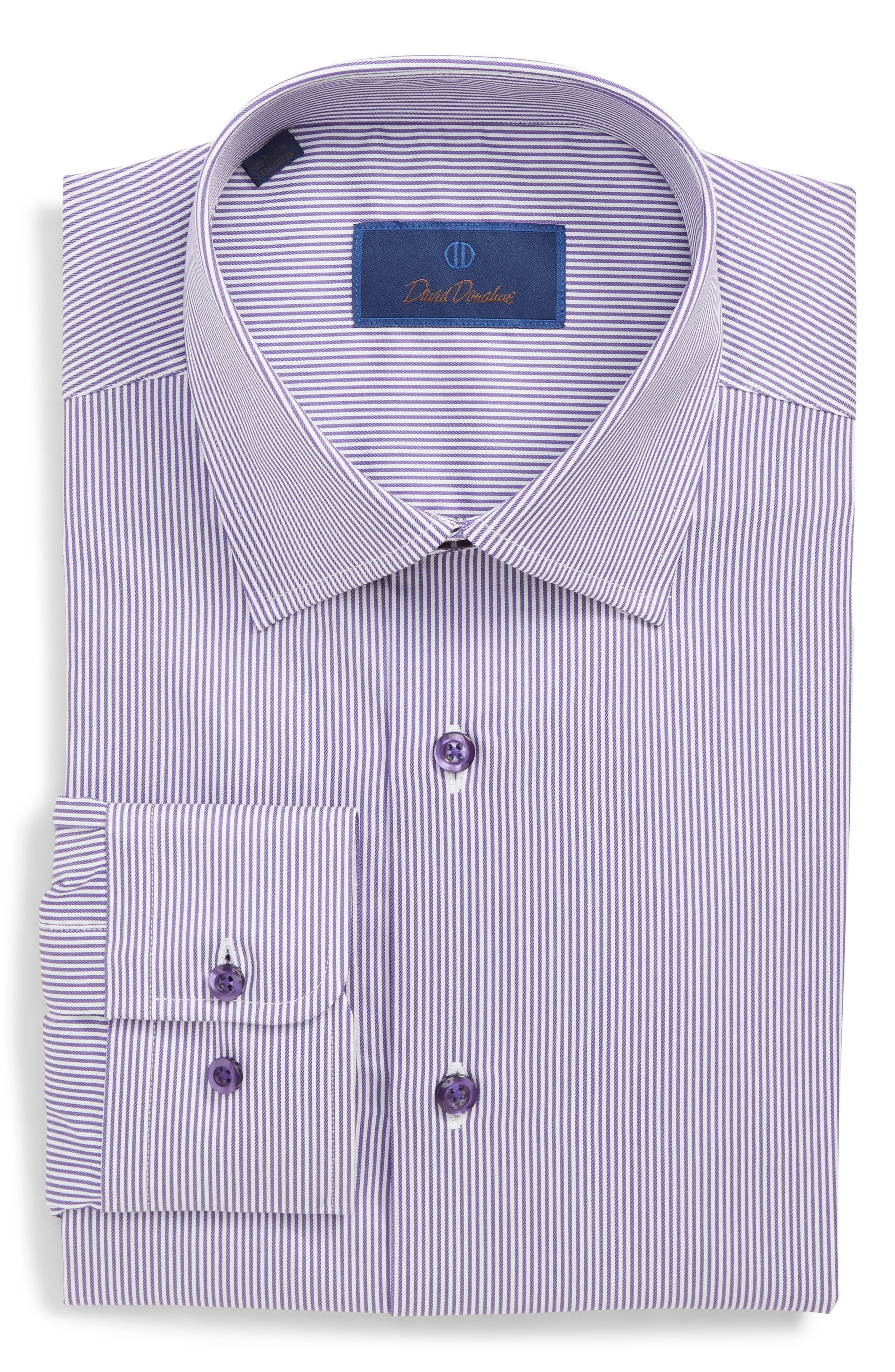 Regular Fit Stripe Dress Shirt,                             Main thumbnail 1, color,                             PURPLE