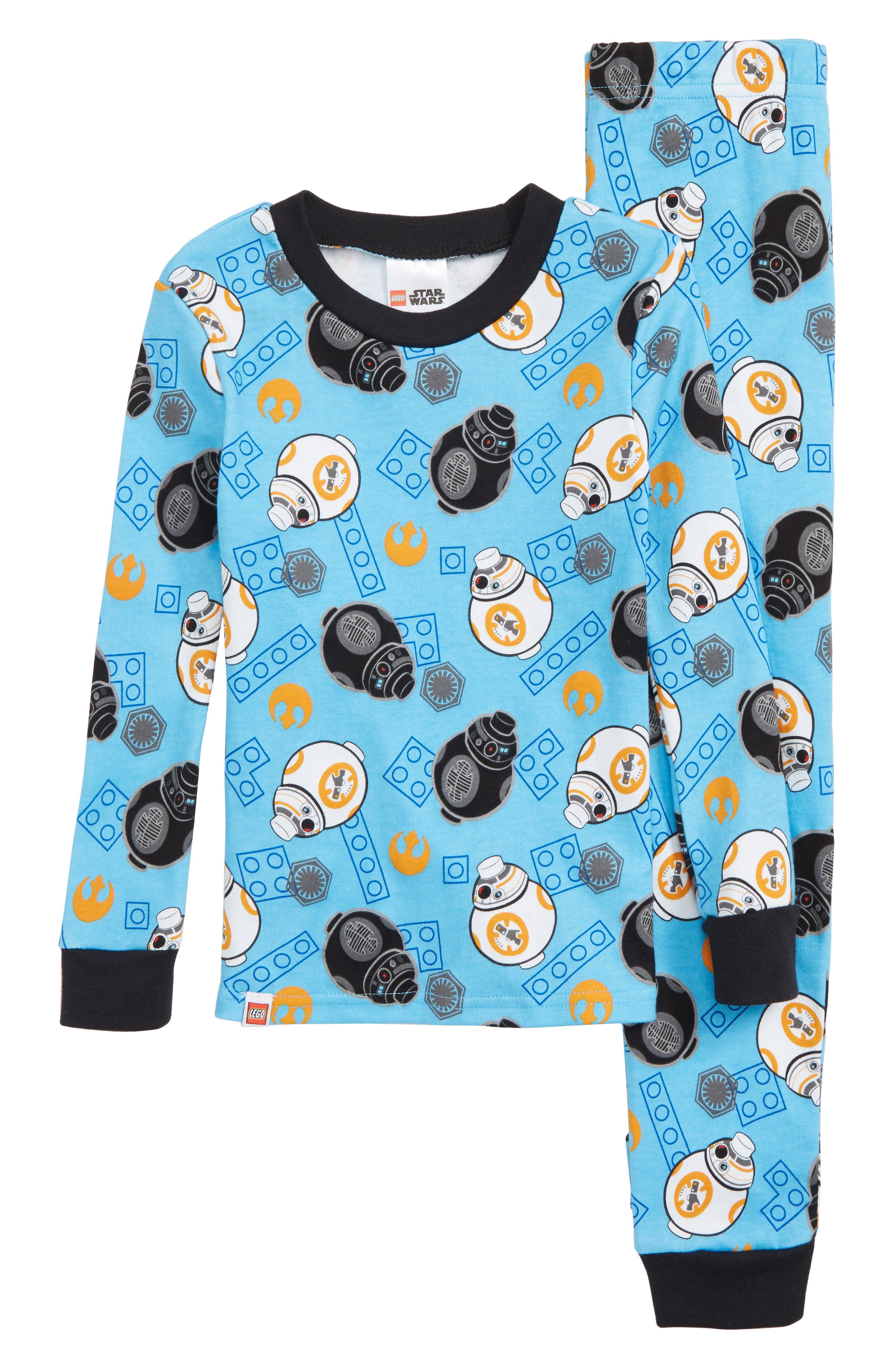 x Star Wars<sup>™</sup> Fitted Two-Piece Pajamas,                         Main,                         color, BLUE