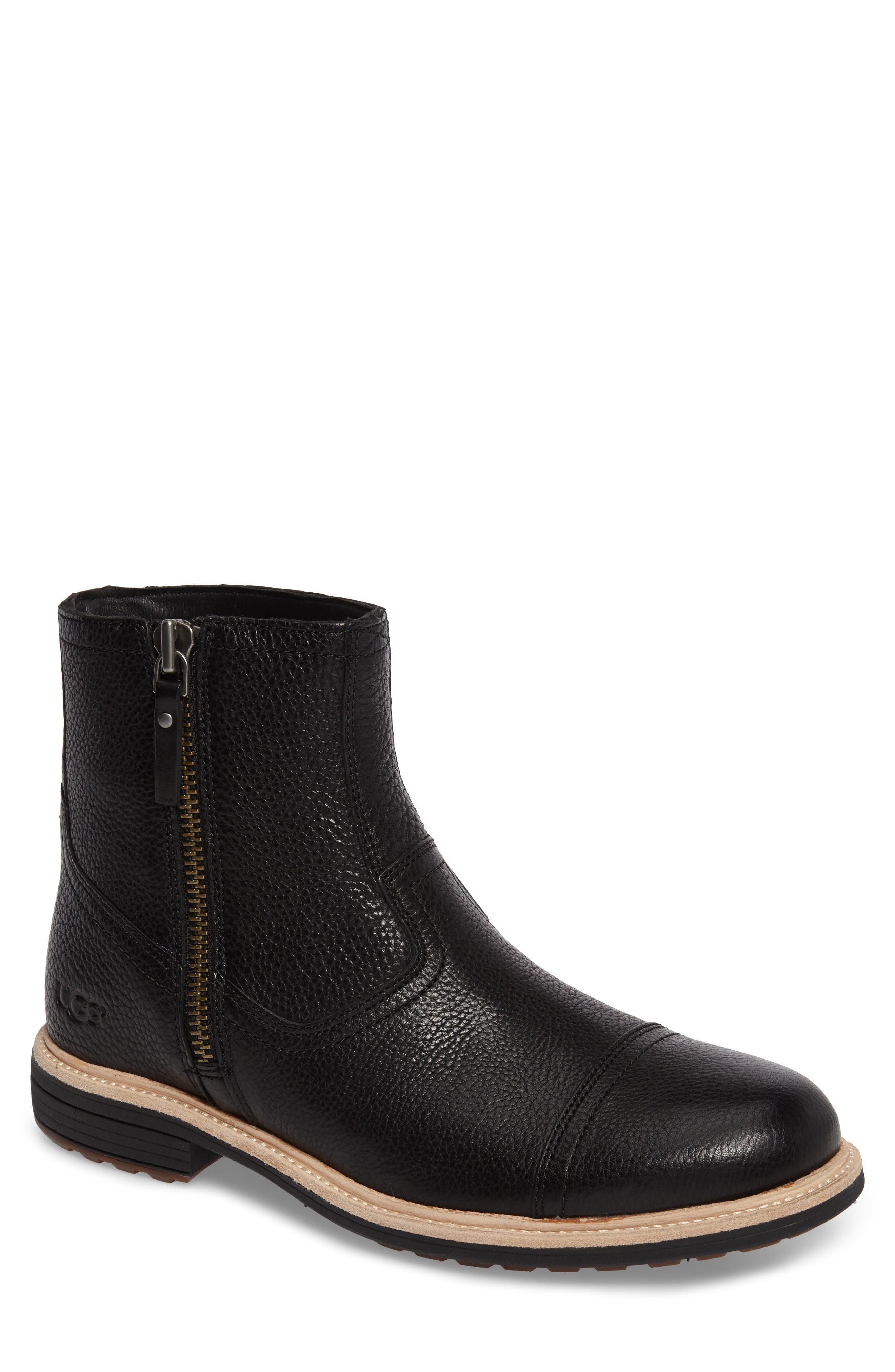 Dalvin Zip Boot with Genuine Shearling,                             Main thumbnail 1, color,                             BLACK