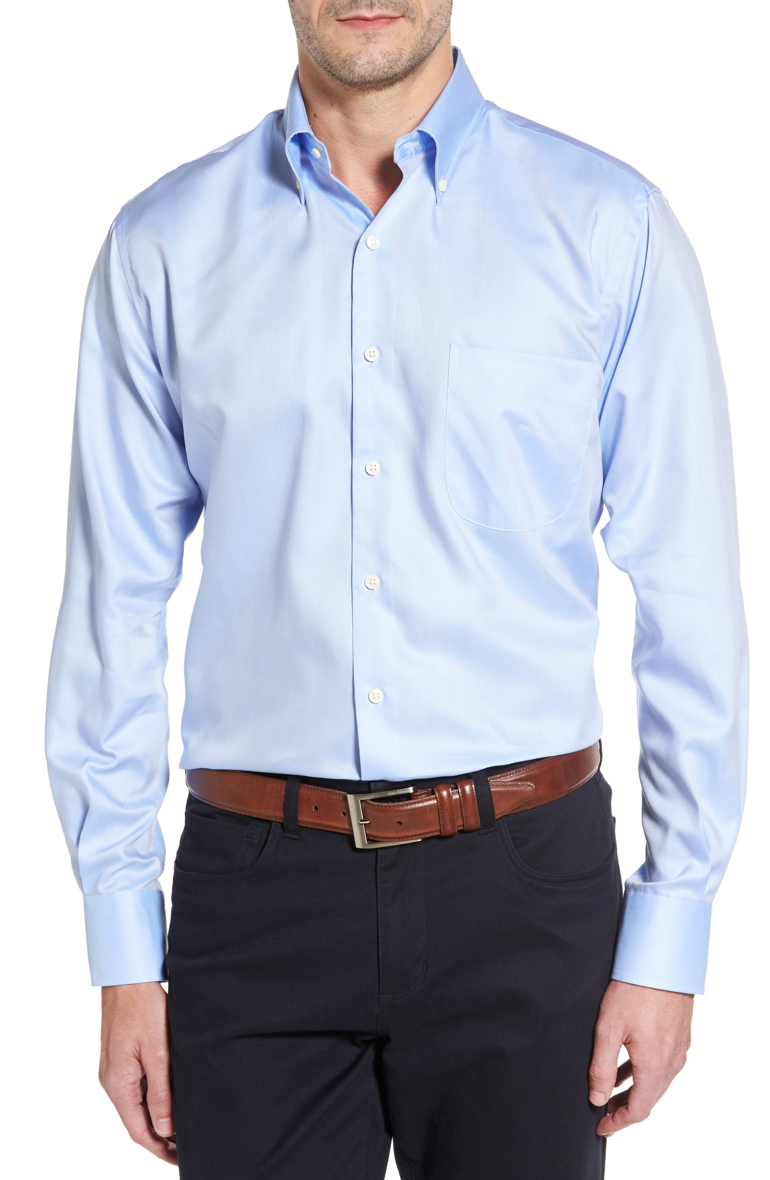 Crown Soft Regular Fit Pinpoint Sport Shirt,                         Main,                         color, WATER'S EDGE