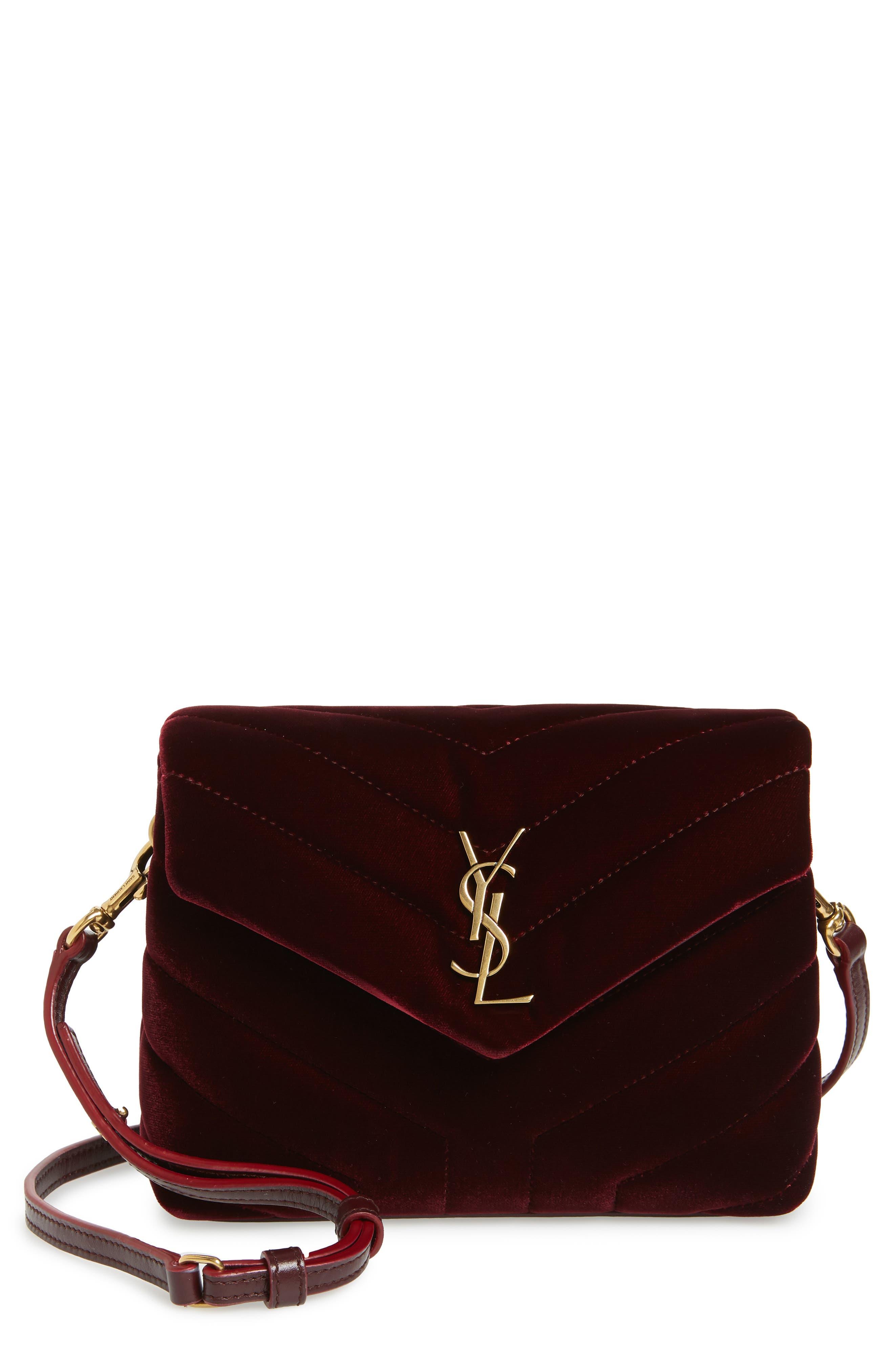 SAINT LAURENT,                             Toy Loulou Velvet Crossbody Bag,                             Main thumbnail 1, color,                             930