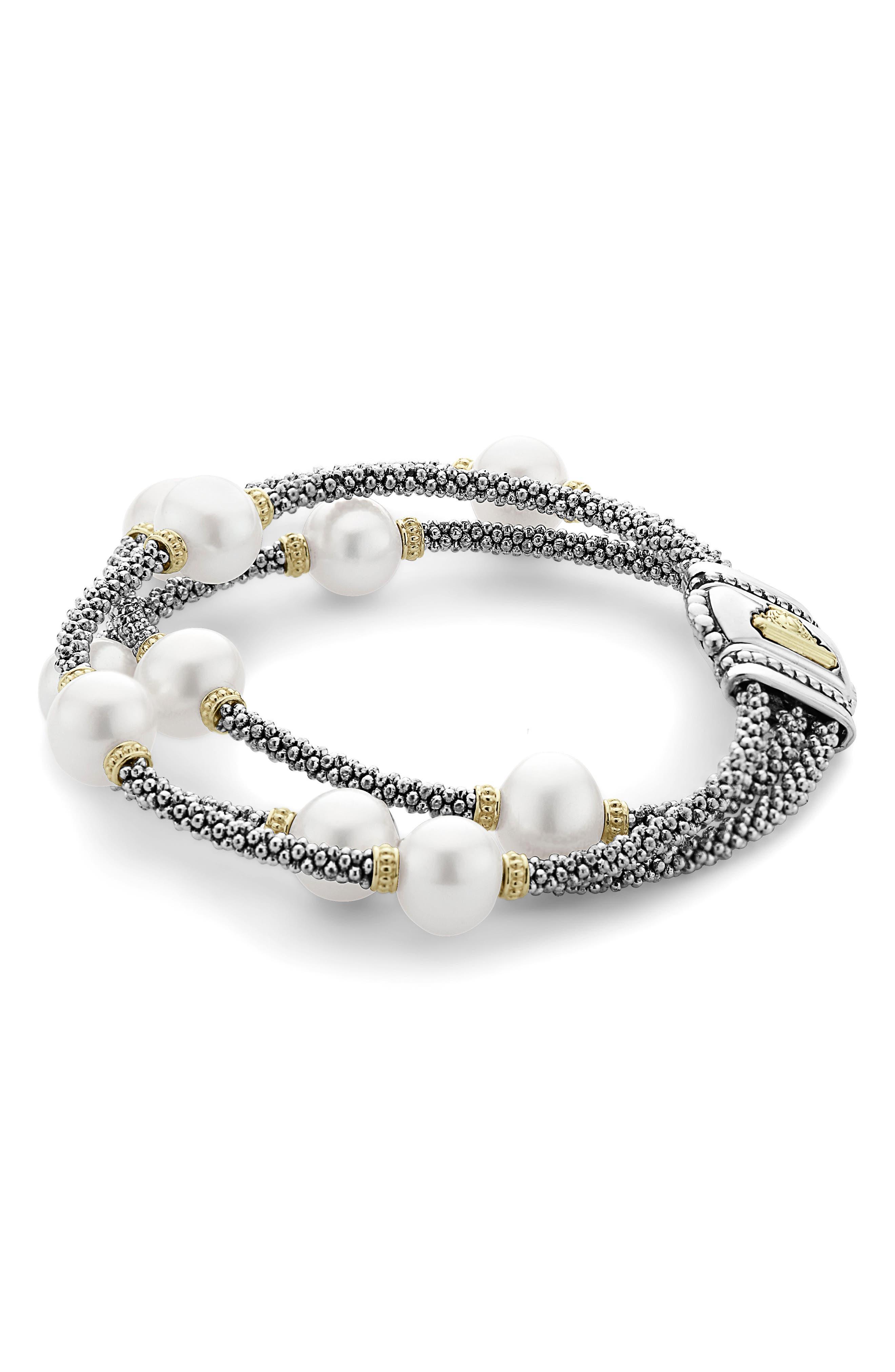 Luna Pearl Caviar Multistrand Bracelet,                             Alternate thumbnail 3, color,