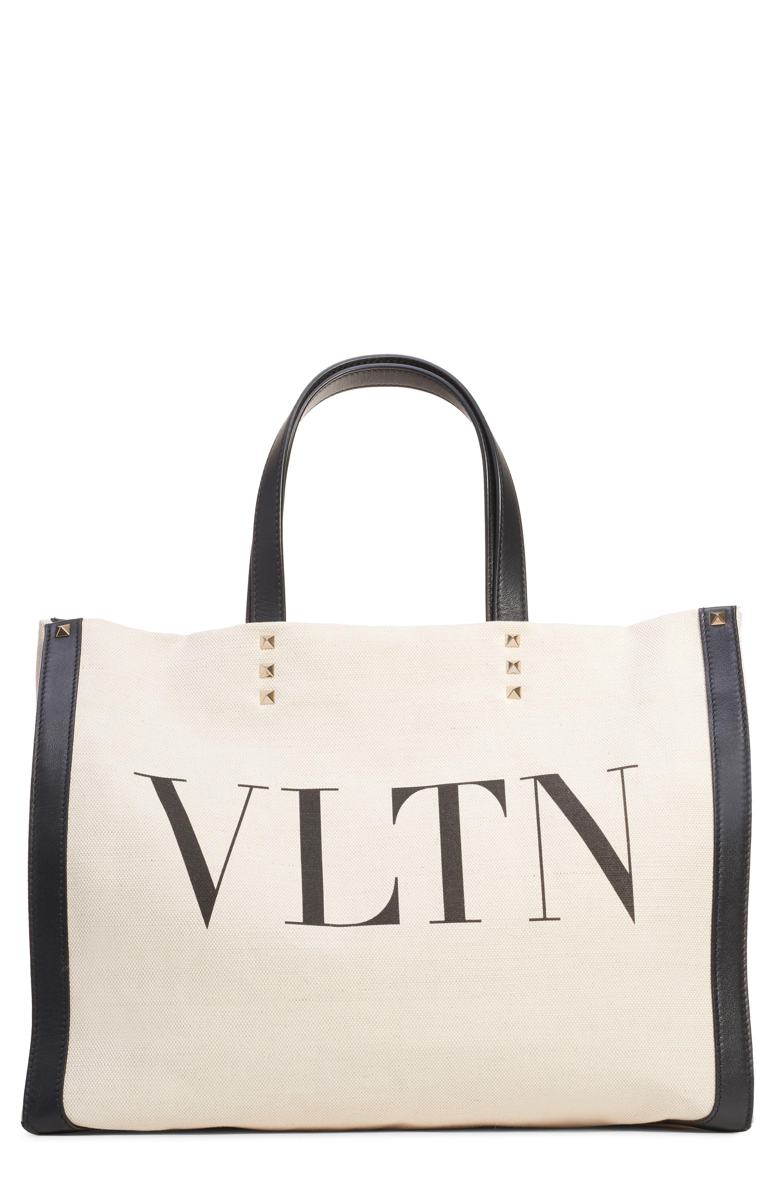 Small Grande Plage VLTN Logo Tote, Main, color, NATURALE/ NERO/ NERO