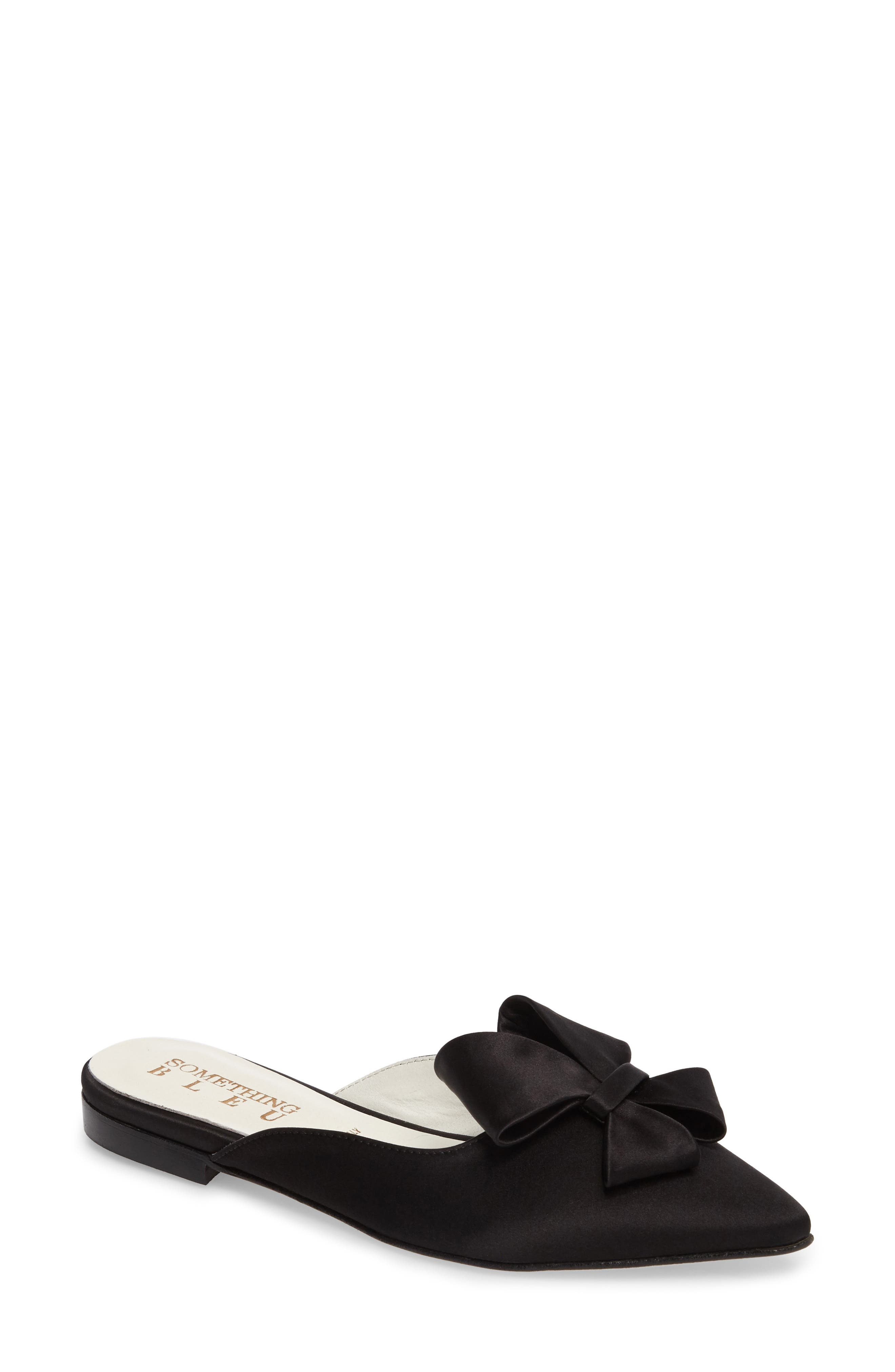 Prince Bow Loafer Mule,                         Main,                         color, BLACK SATIN