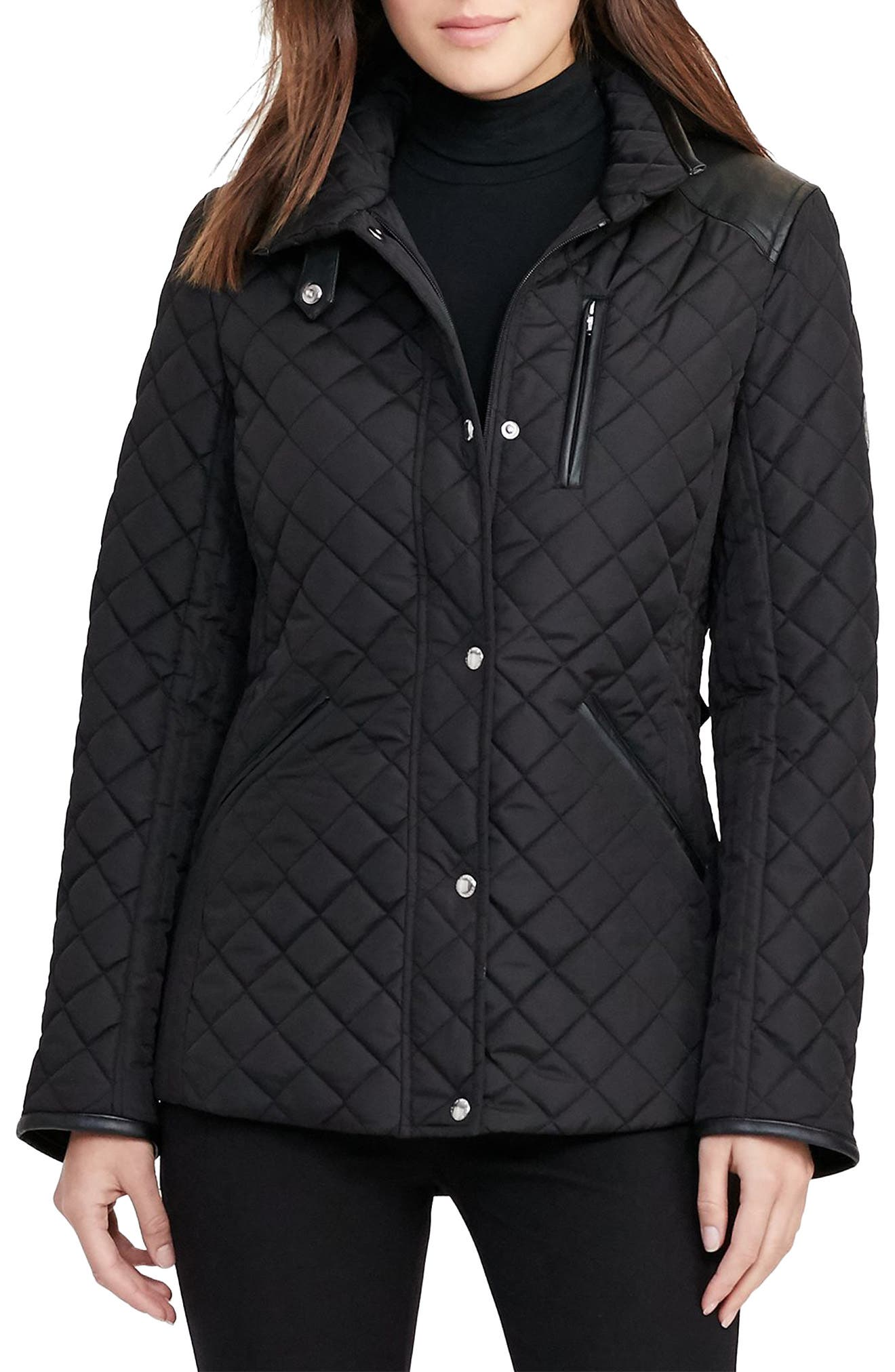 Faux Leather Trim Quilted Jacket,                             Main thumbnail 5, color,