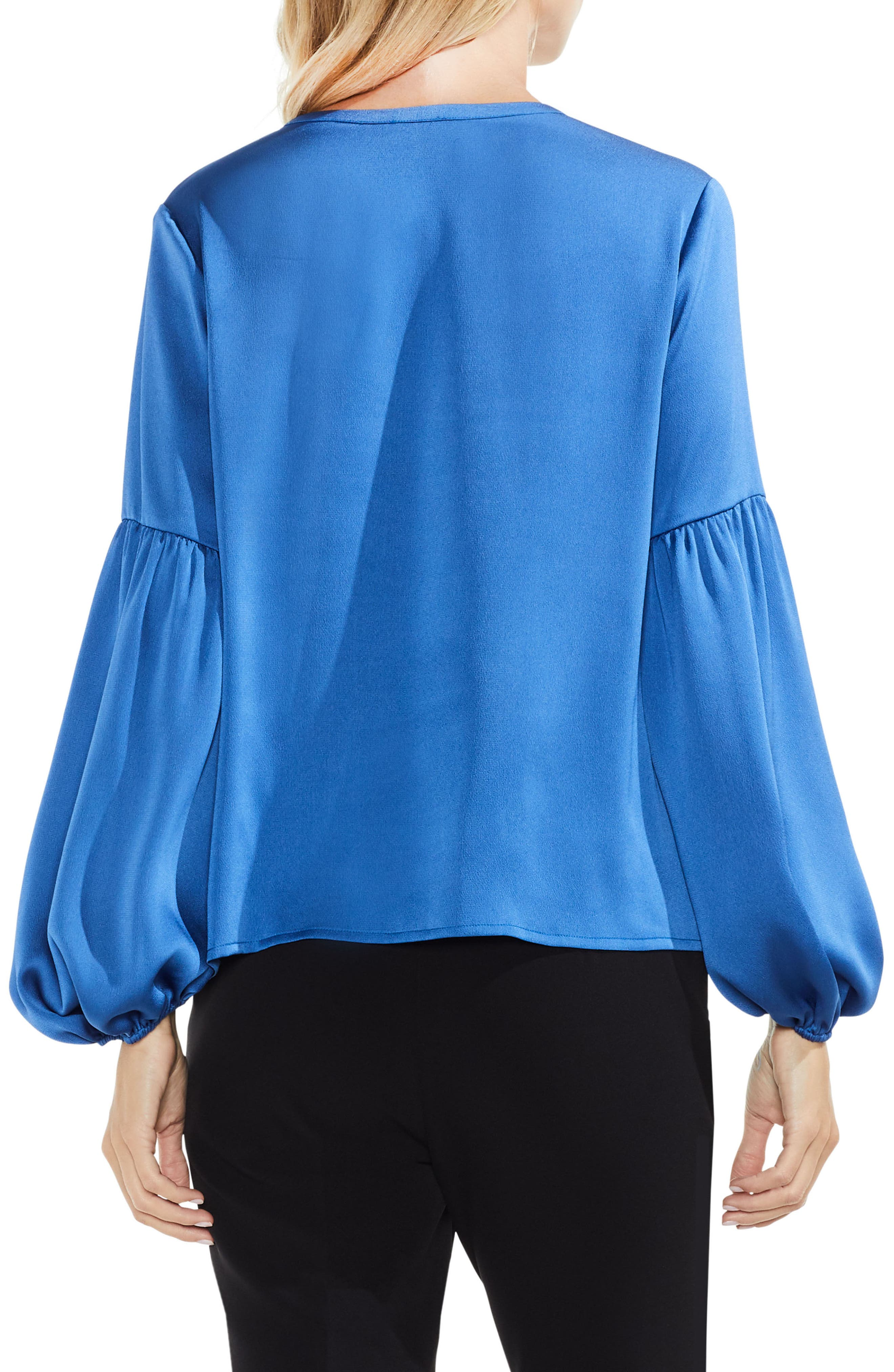 Lace-Up Hammered Satin Blouse,                             Alternate thumbnail 10, color,