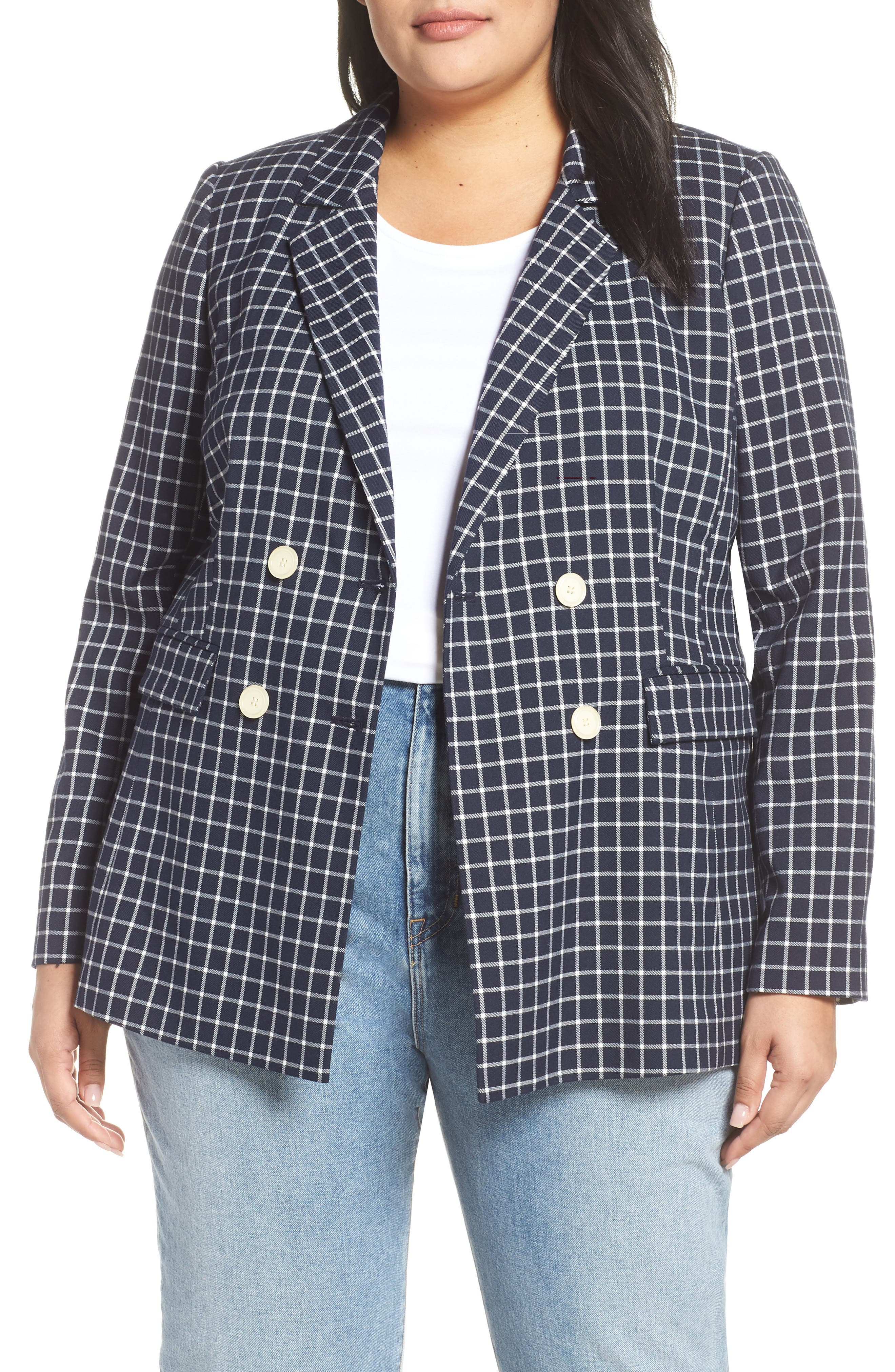 HALOGEN<SUP>®</SUP> Double Breasted Check Blazer, Main, color, NAVY CHECK