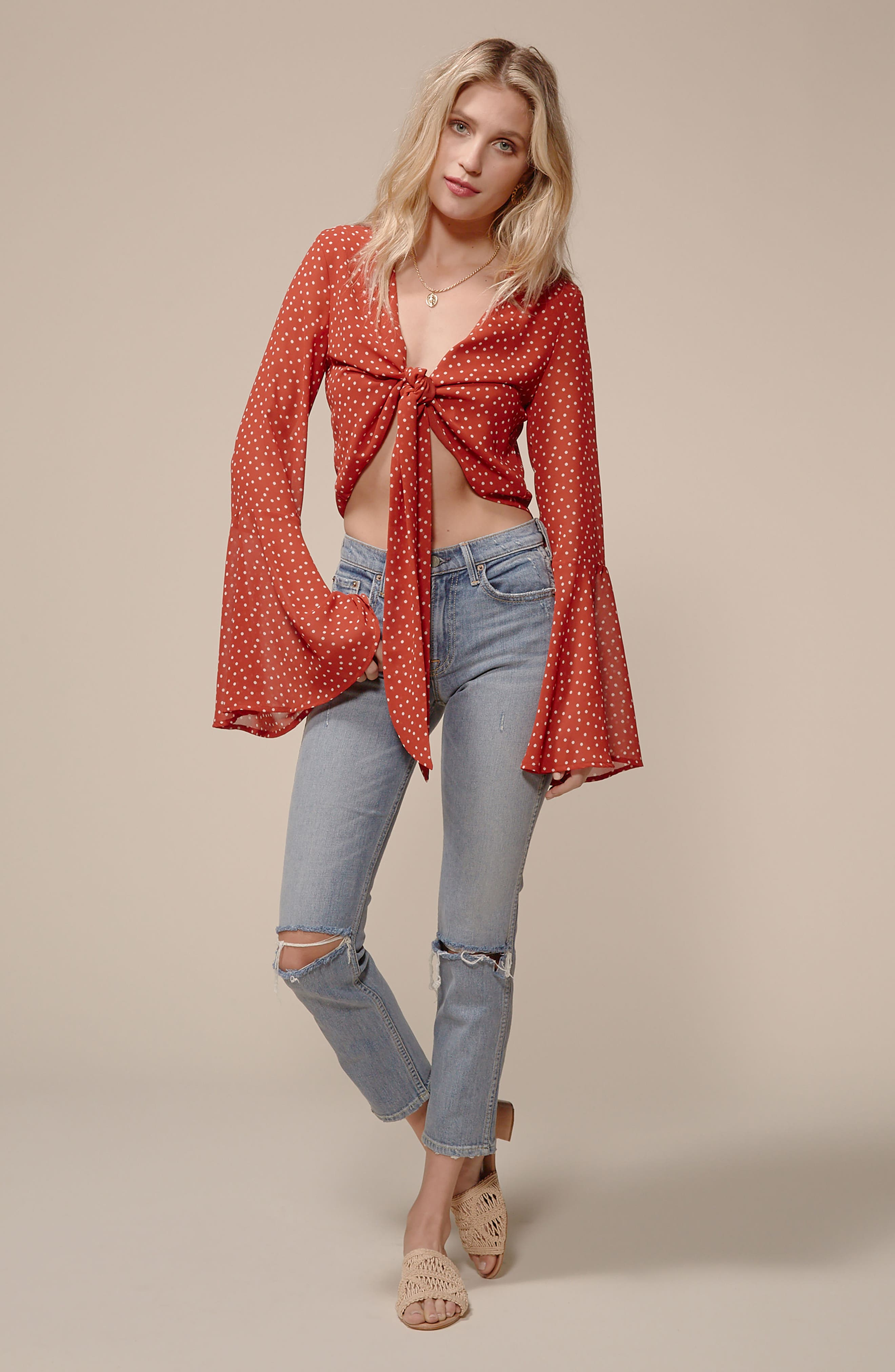 Tie Front Bell Sleeve Top,                             Alternate thumbnail 7, color,                             600