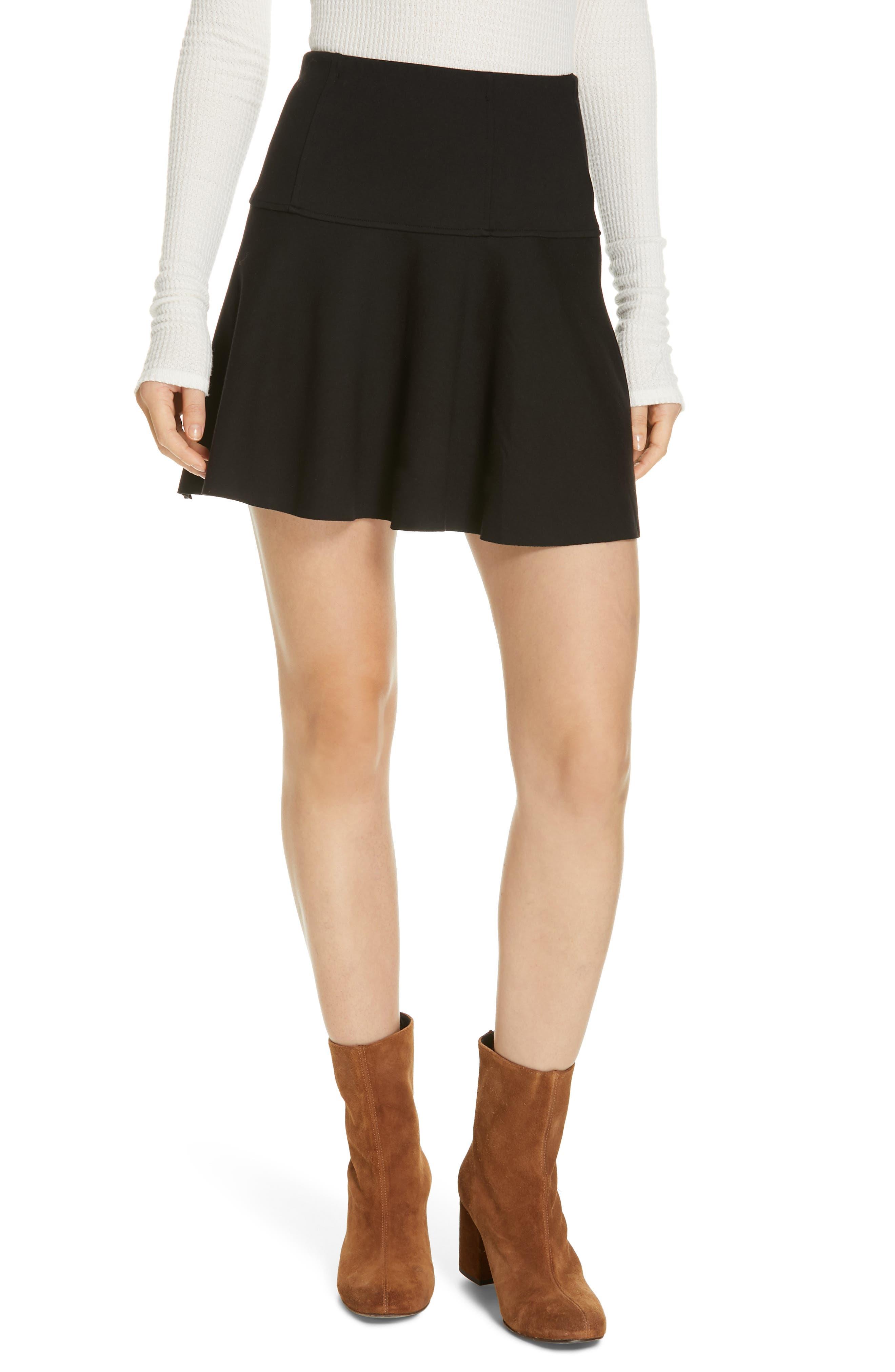 Free People Highlands Miniskirt, Black