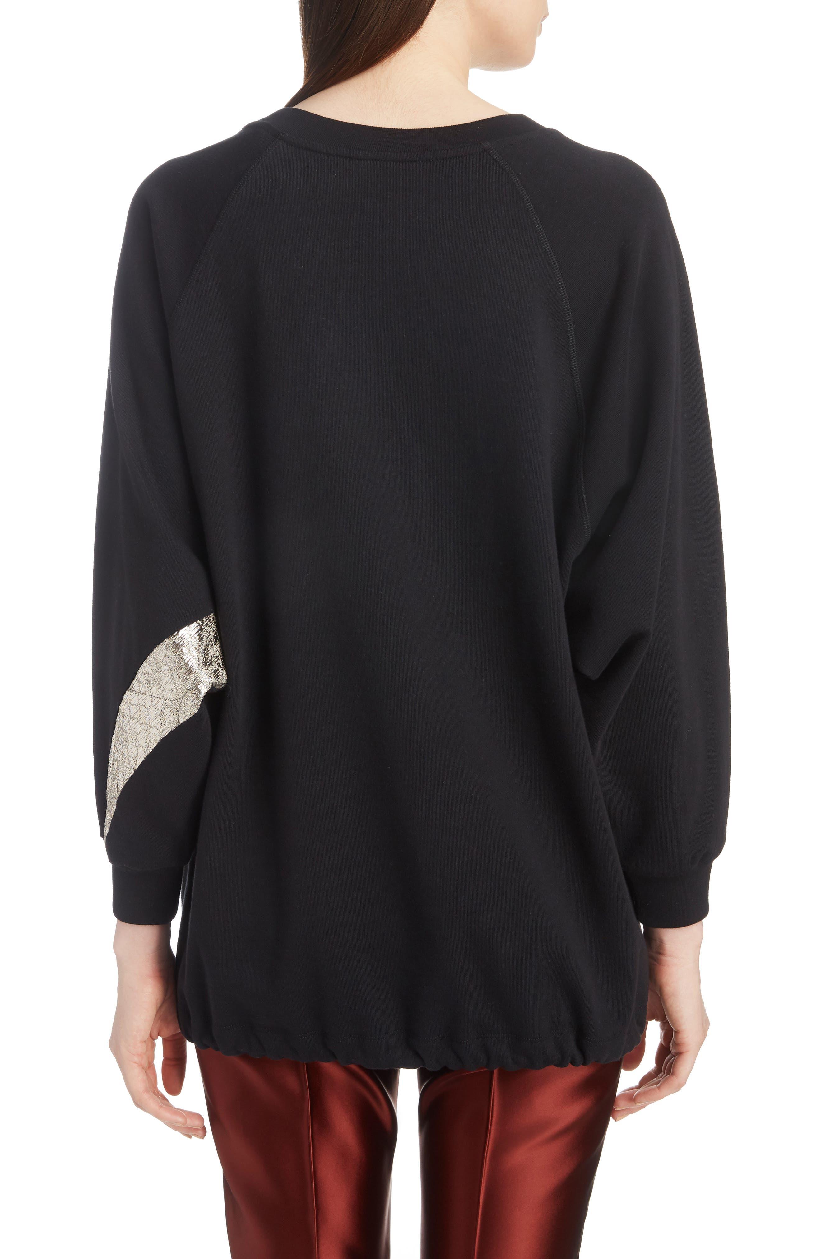 Metallic & Peacock Inset Sweatshirt,                             Alternate thumbnail 2, color,                             BLACK