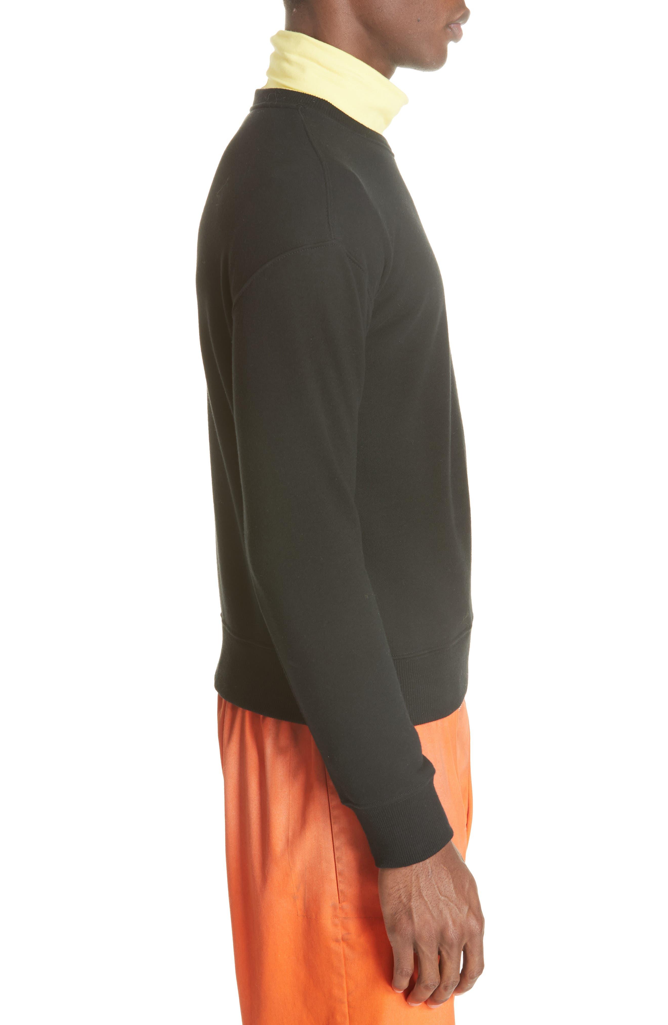 Established Embroidered Sweatshirt,                             Alternate thumbnail 3, color,                             BLACK