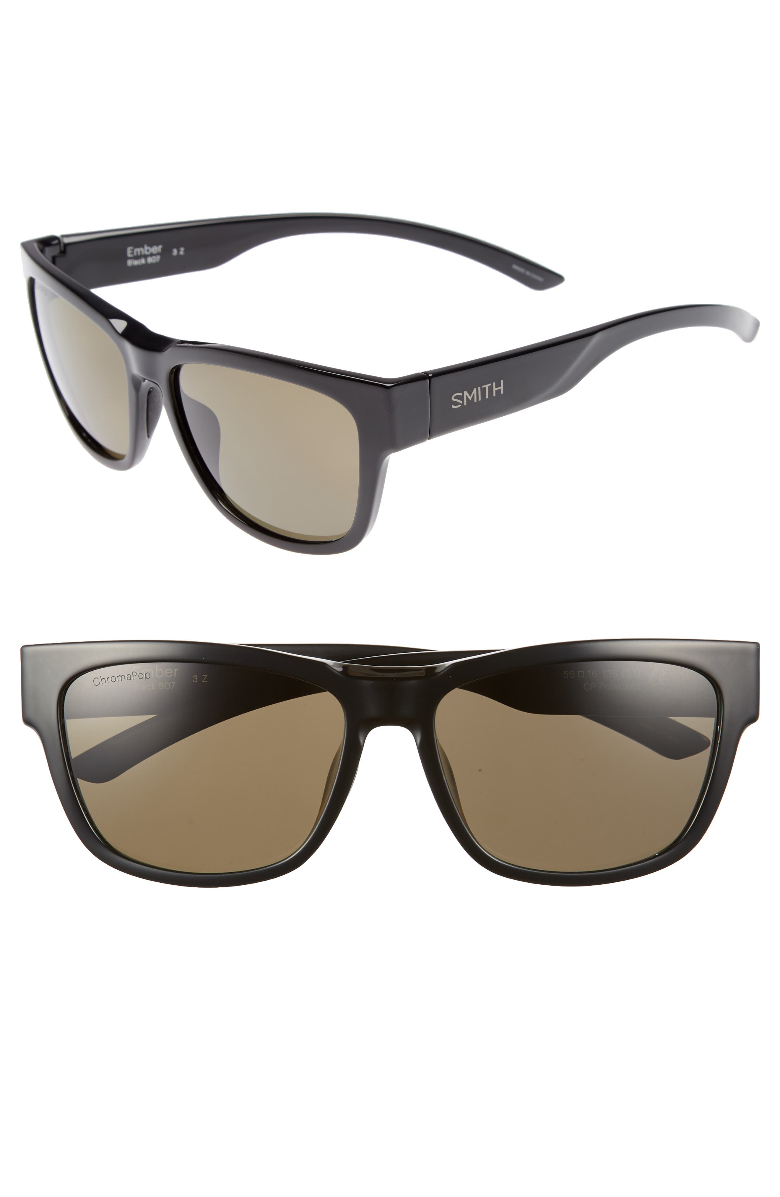 Ember 56mm ChromaPop<sup>™</sup> Square Sunglasses,                         Main,                         color, BLACK
