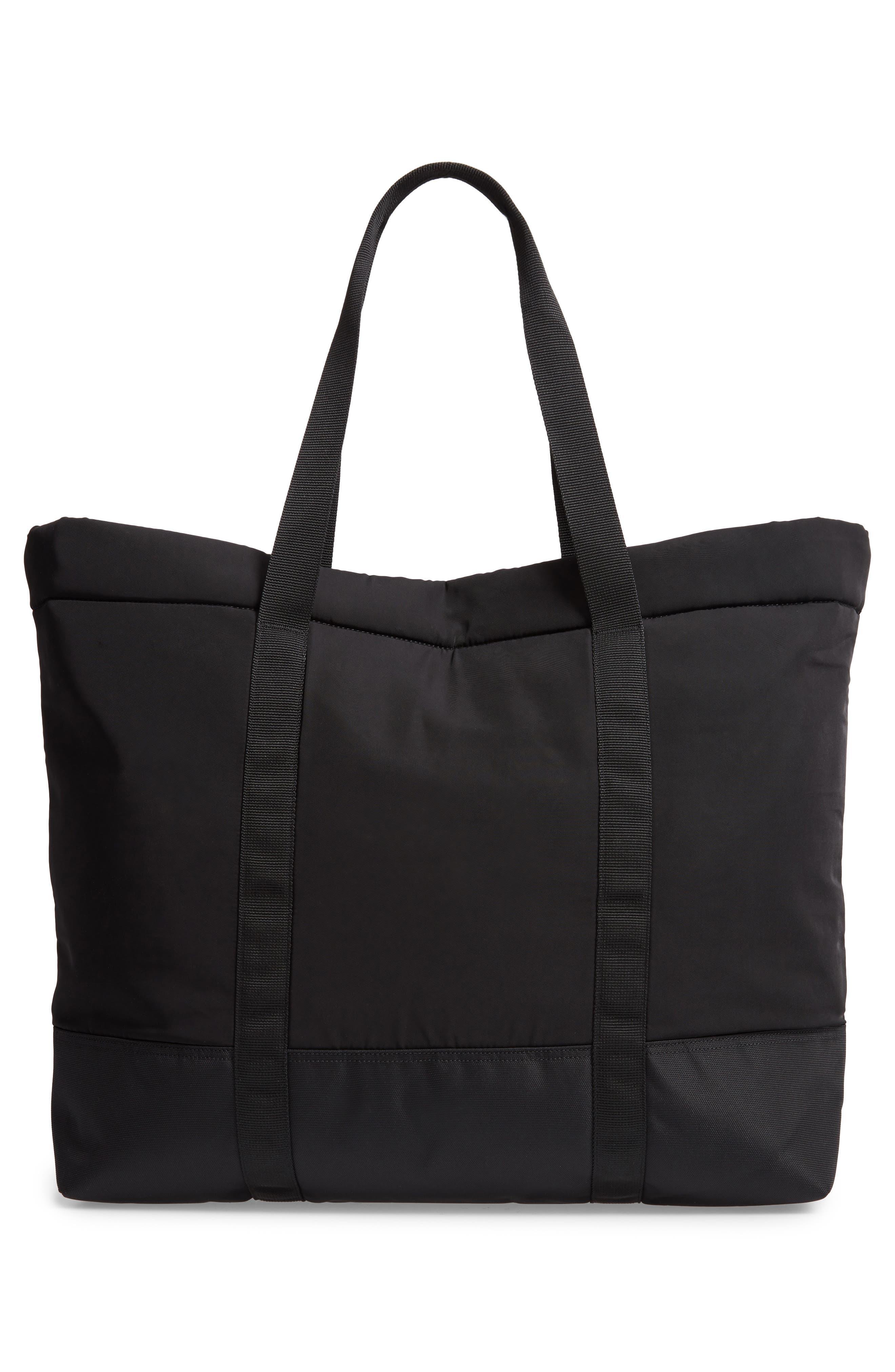 Military Shopper Tote Bag,                             Alternate thumbnail 3, color,                             BLACK / BLACK