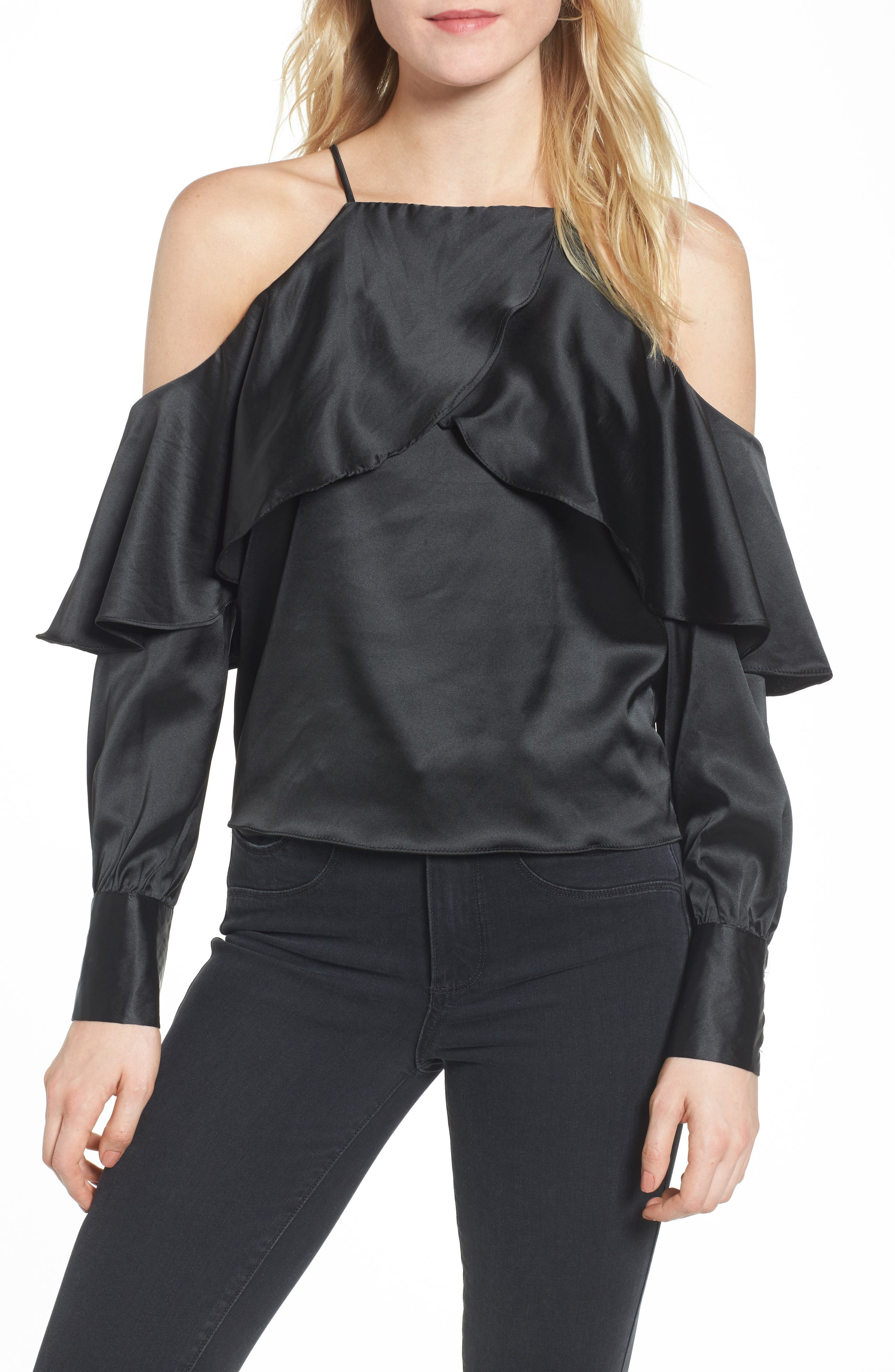 Bishop + Young Mia Cold Shoulder Blouse,                         Main,                         color, 001