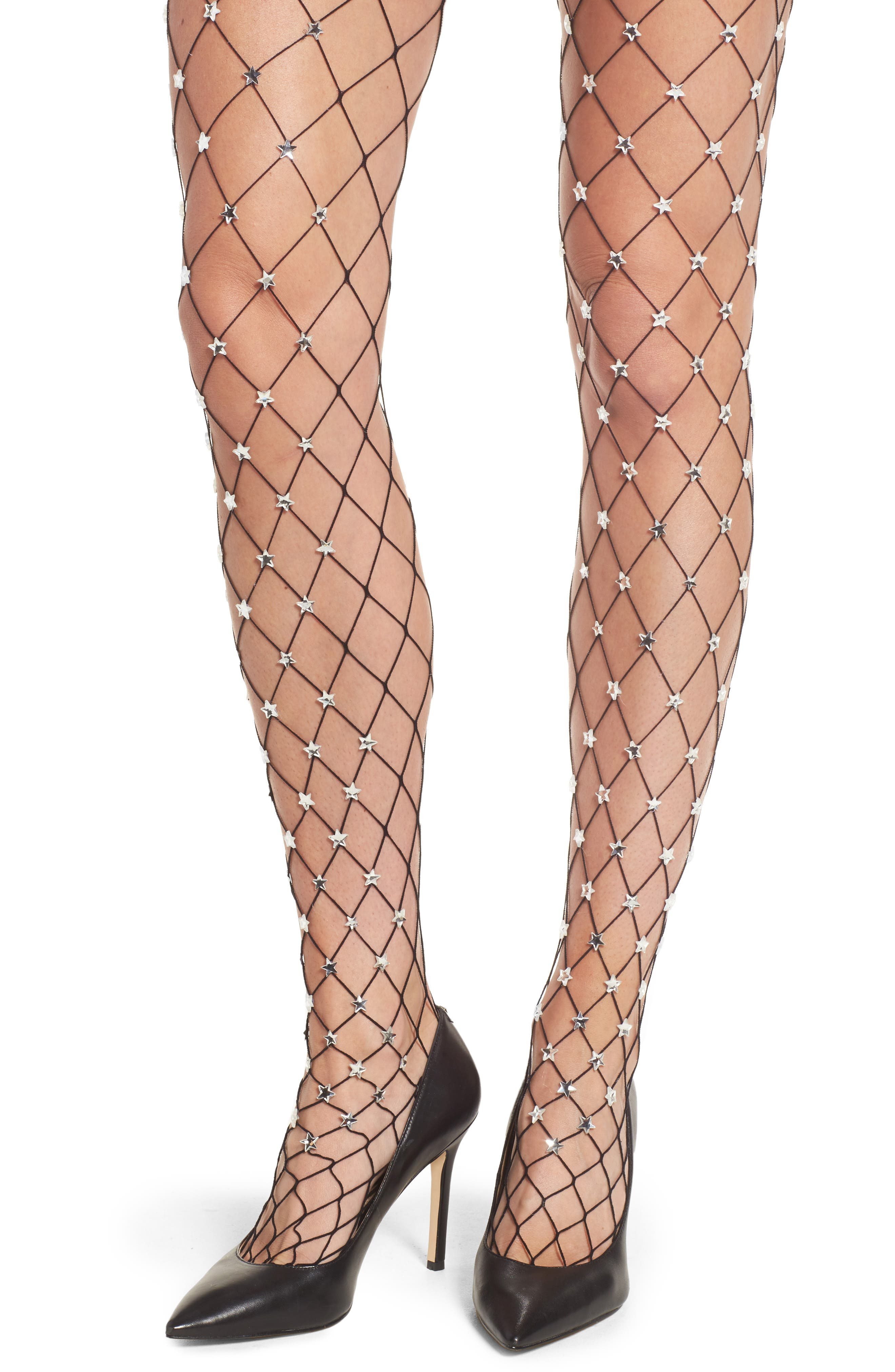 Silver Starry Fishnet Tights,                             Alternate thumbnail 2, color,                             001