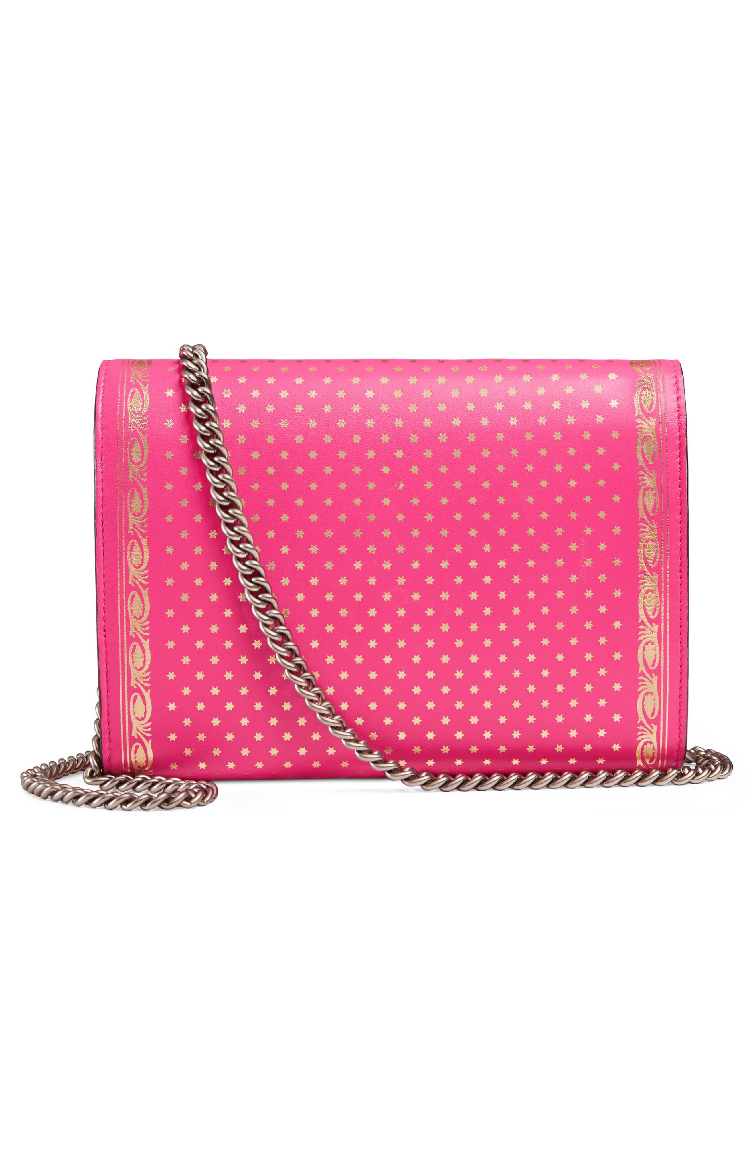Guccy Logo Moon & Stars Leather Wallet on a Chain,                             Alternate thumbnail 3, color,                             BRIGHT FUCSIA ORO