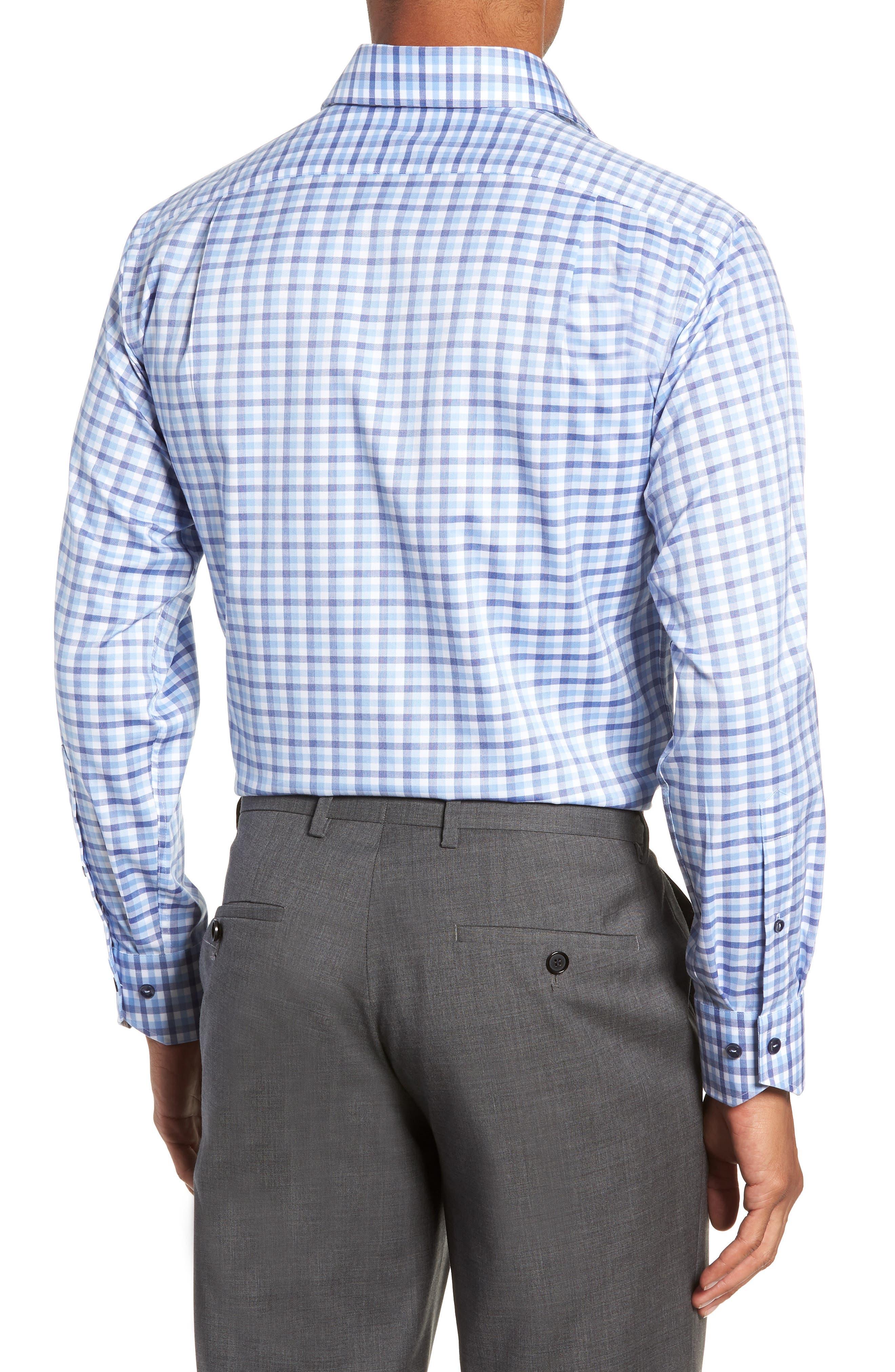 Trim Fit Check Dress Shirt,                             Alternate thumbnail 3, color,                             450